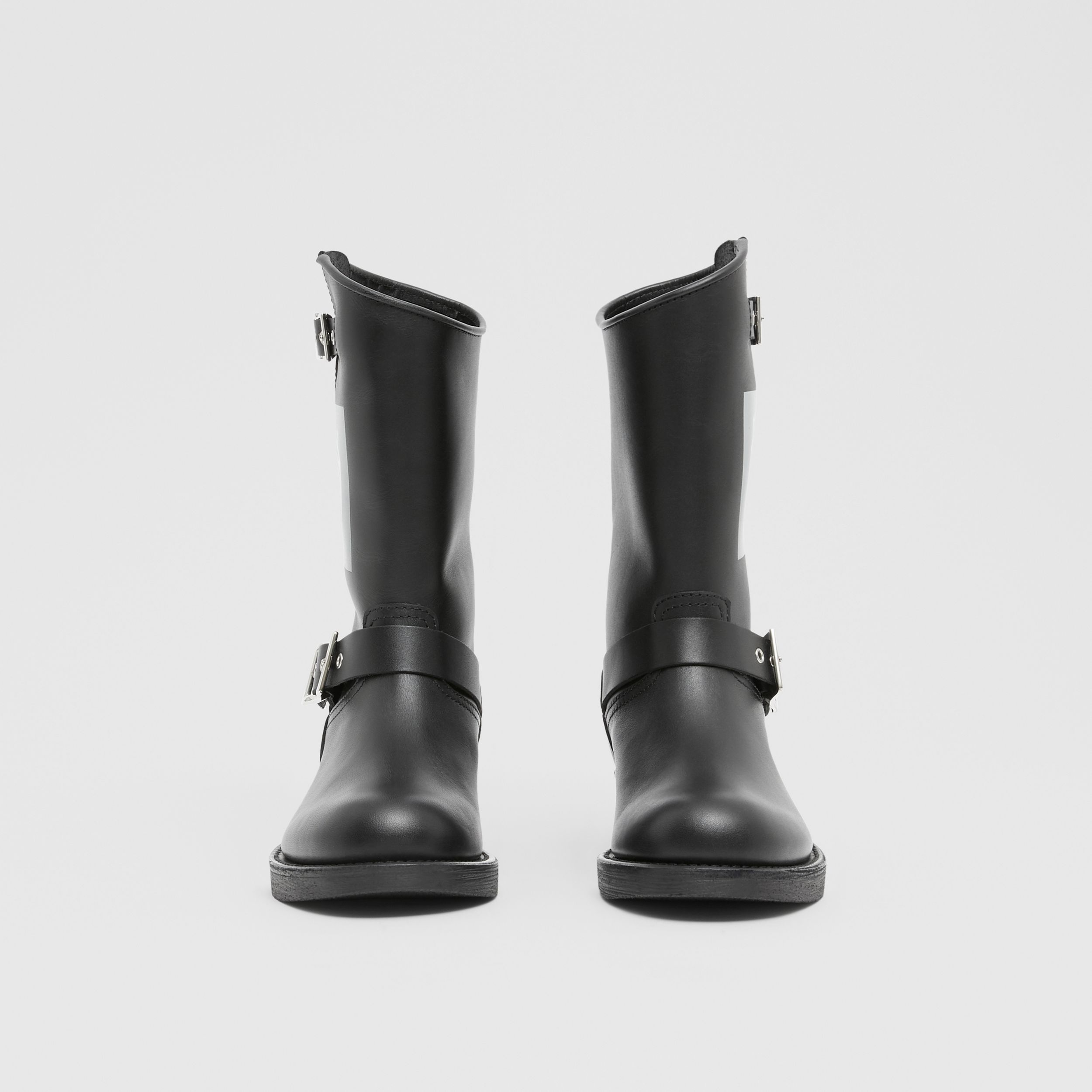 Montage Print Leather Biker Boots in Black - Women | Burberry - 2