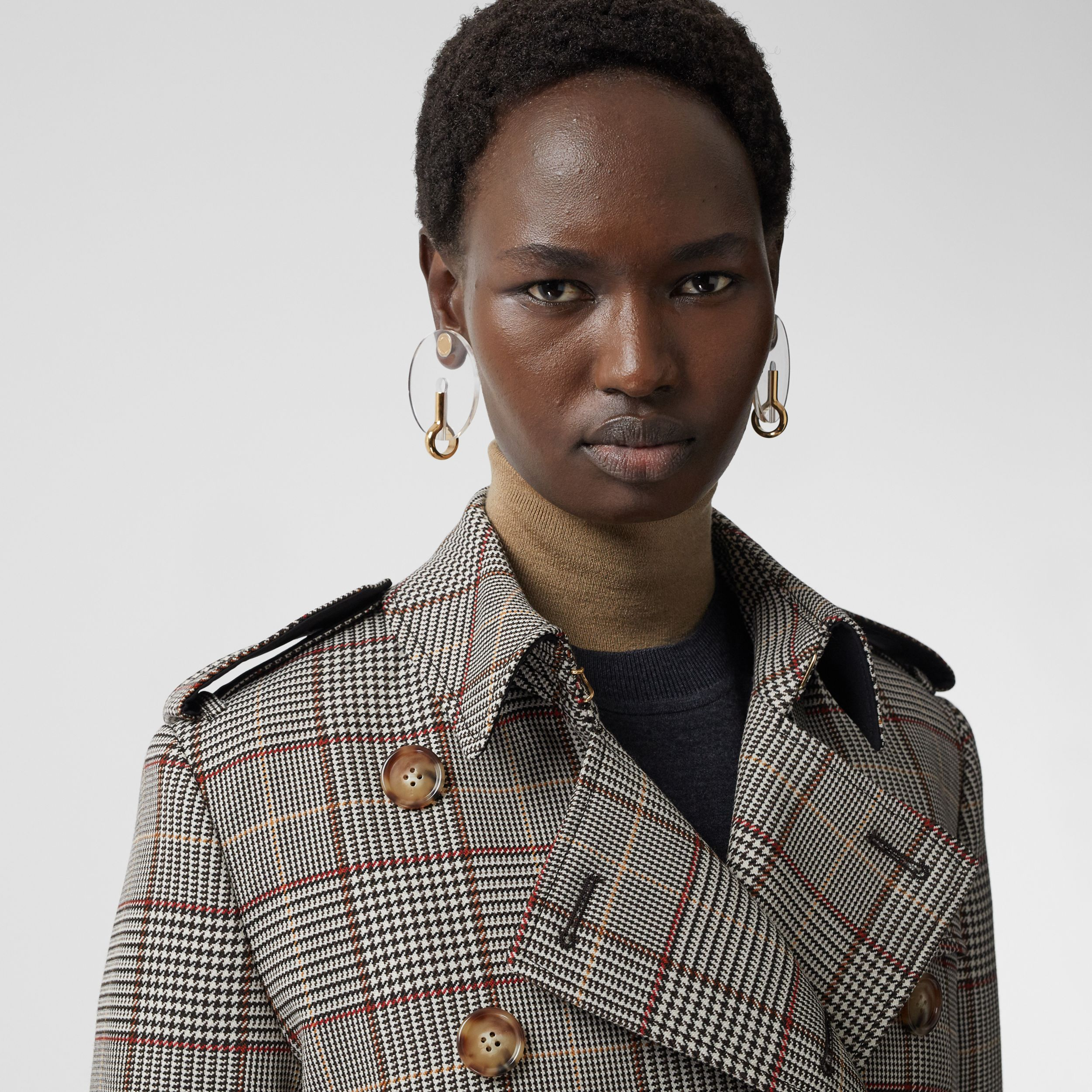 Prince of Wales Check Wool Trench Coat in Clove Brown - Women | Burberry Hong Kong S.A.R. - 2