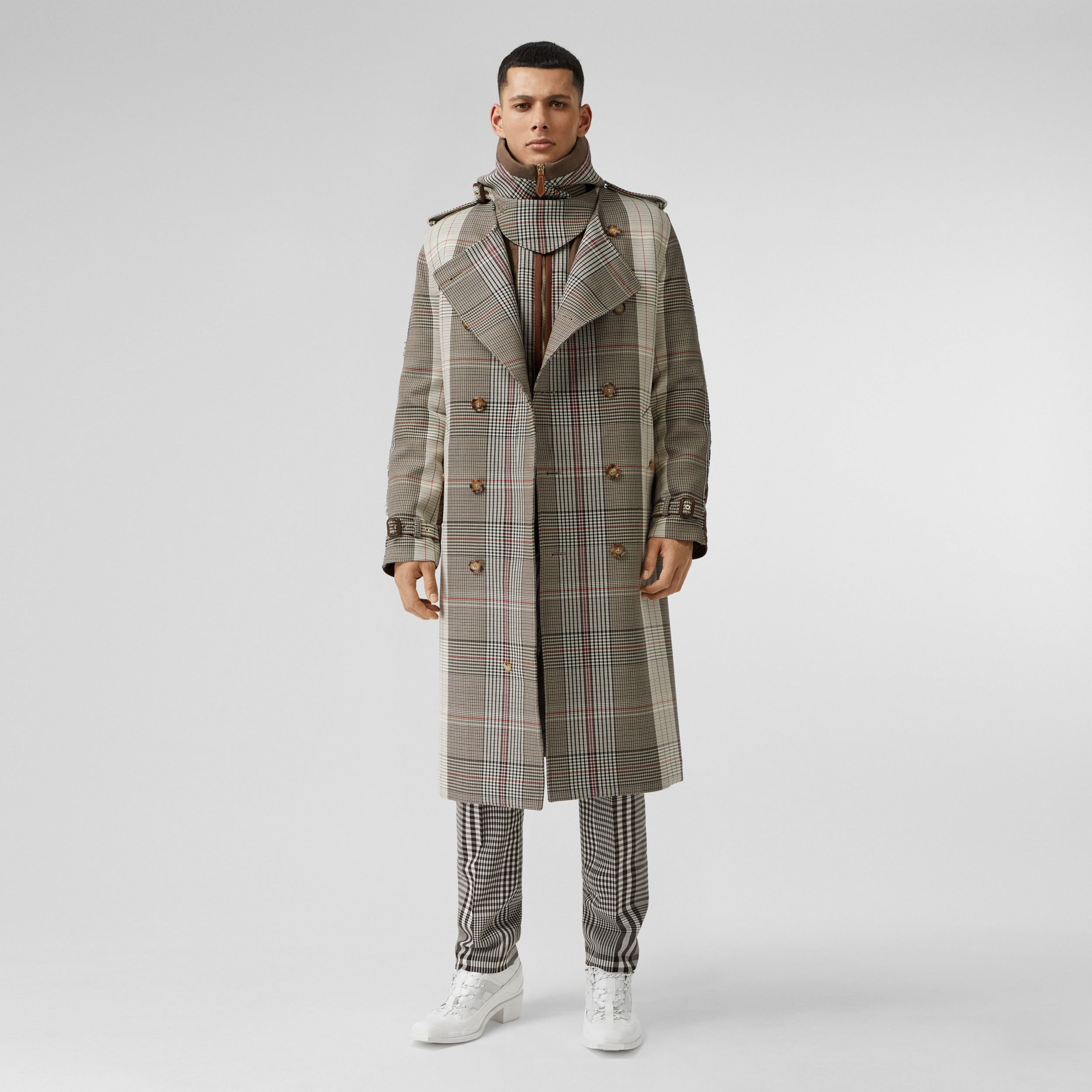 Quilted Panel Check Wool Cotton Trench Coat in Beige | Burberry - 1