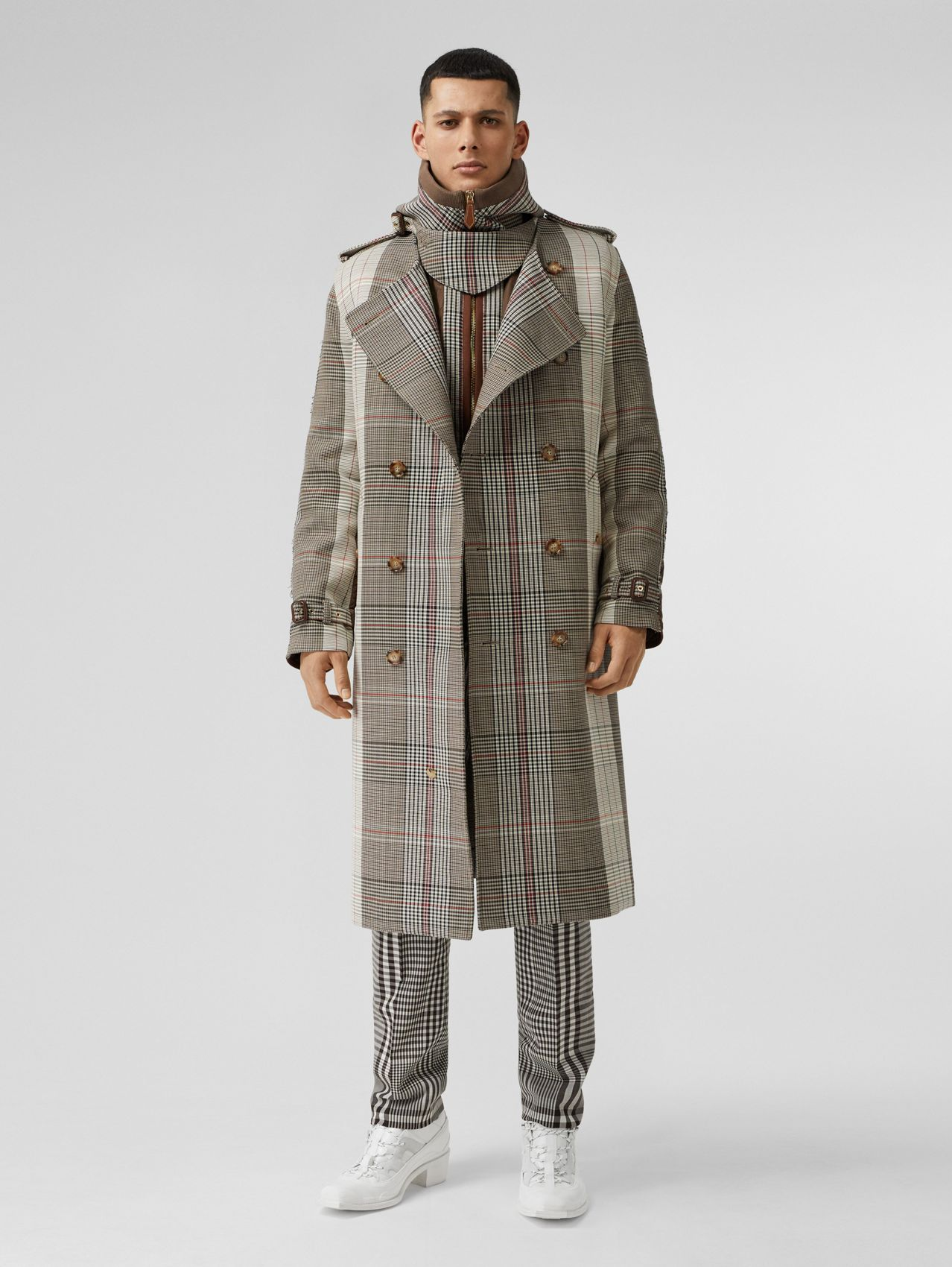 Quilted Panel Check Wool Cotton Trench Coat in Beige