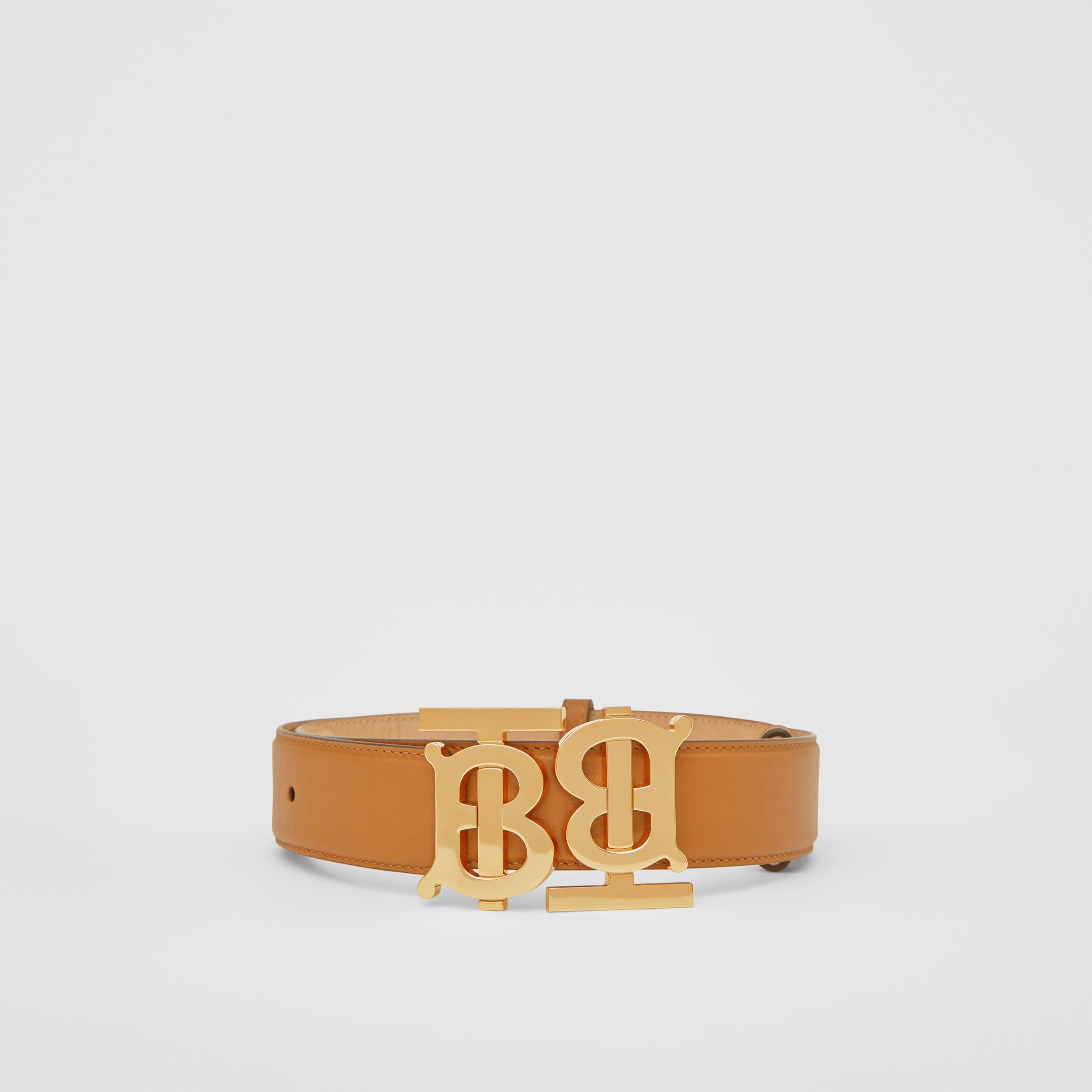 Double Monogram Motif Leather Belt in Warm Tan - Women | Burberry - 4
