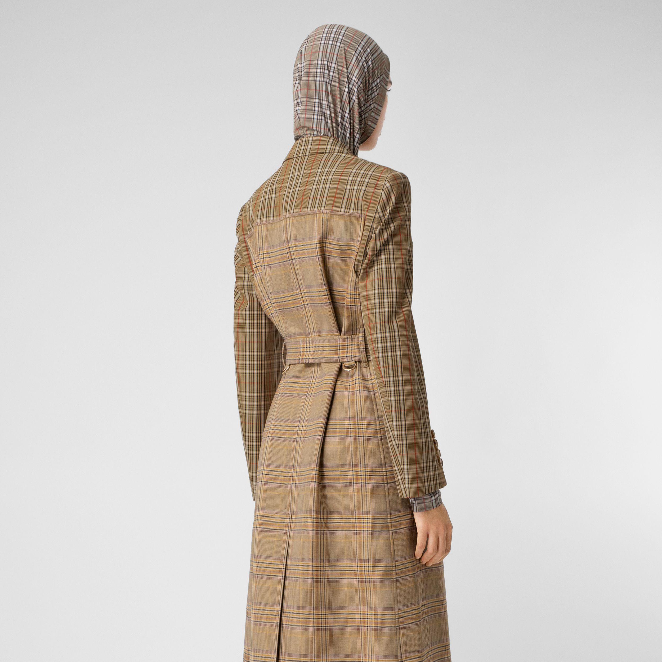 Contrast Check Wool Cotton Trench Coat in Dark Honey - Women | Burberry - 3