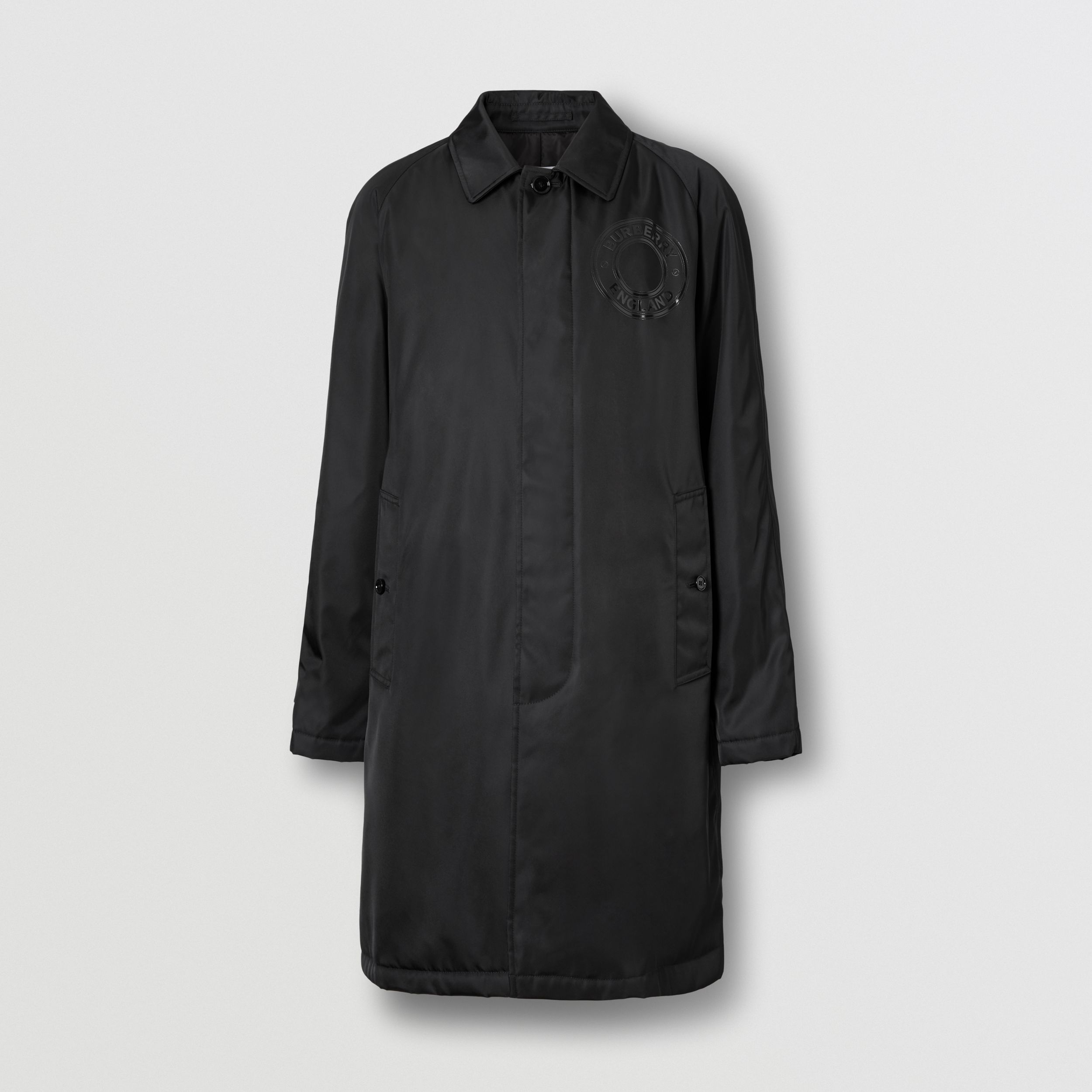 Logo Graphic ECONYL® Car Coat in Black - Men | Burberry Canada - 4