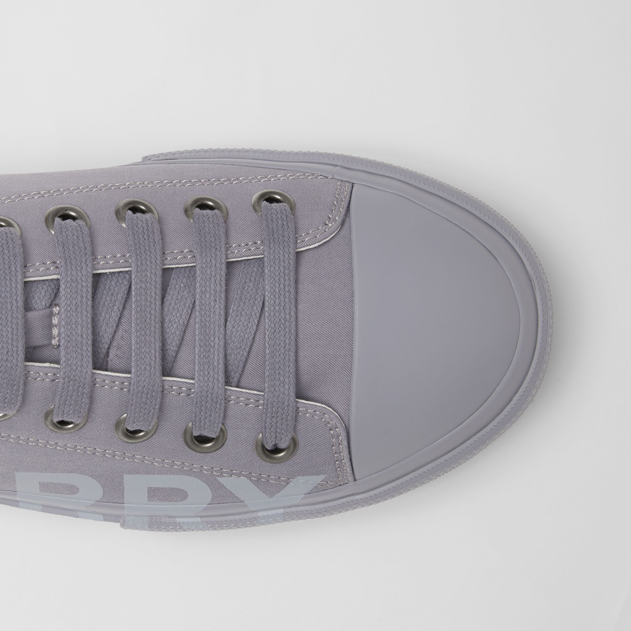 Logo Print Cotton Gabardine Sneakers in Flint Grey - Men | Burberry - 2