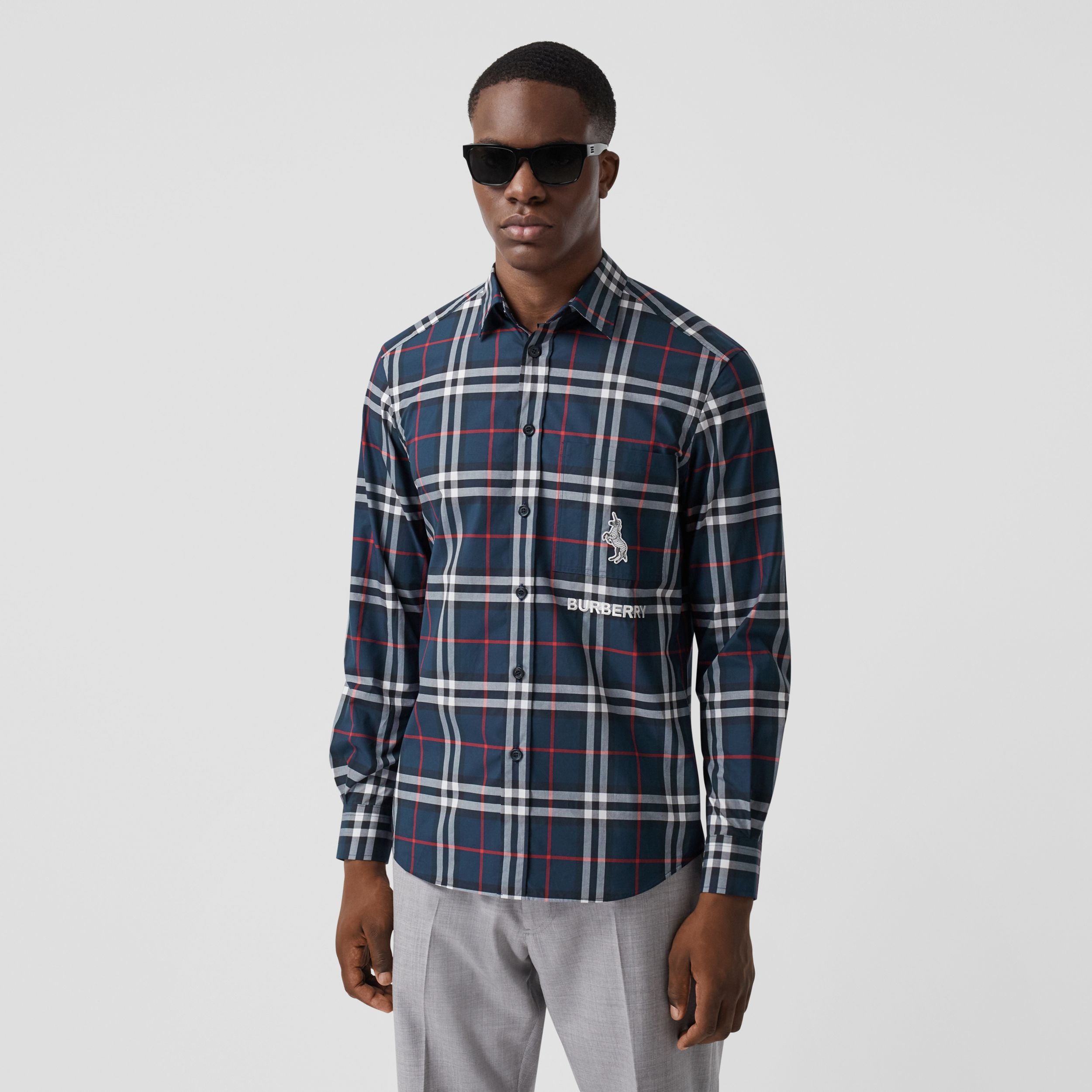 Classic Fit Swan Motif Check Cotton Shirt in Navy - Men | Burberry - 1