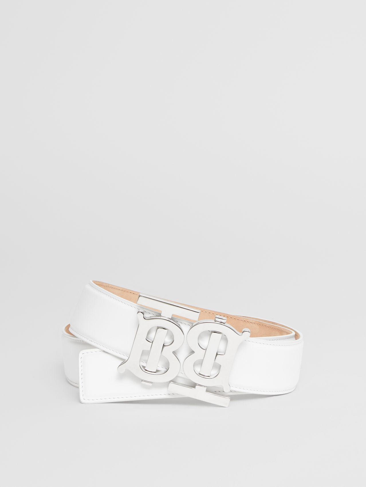 Double Monogram Motif Leather Belt in Optic White