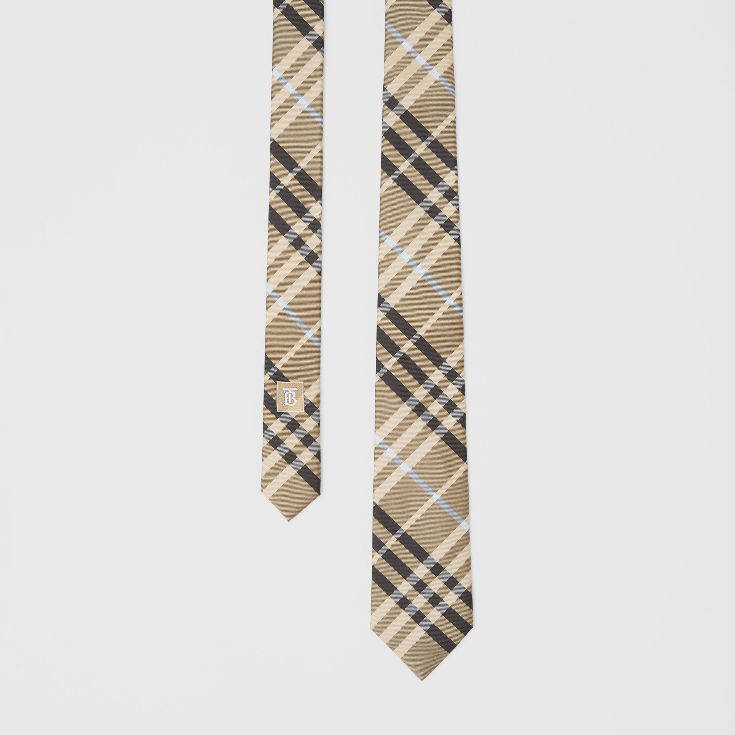 Classic Cut Check Silk Tie in Dusty Sand - Men | Burberry - 1