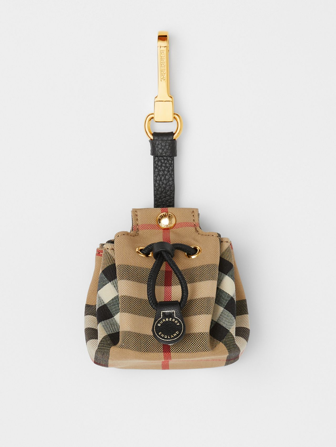 Vintage Check Bucket Bag Charm in Archive Beige