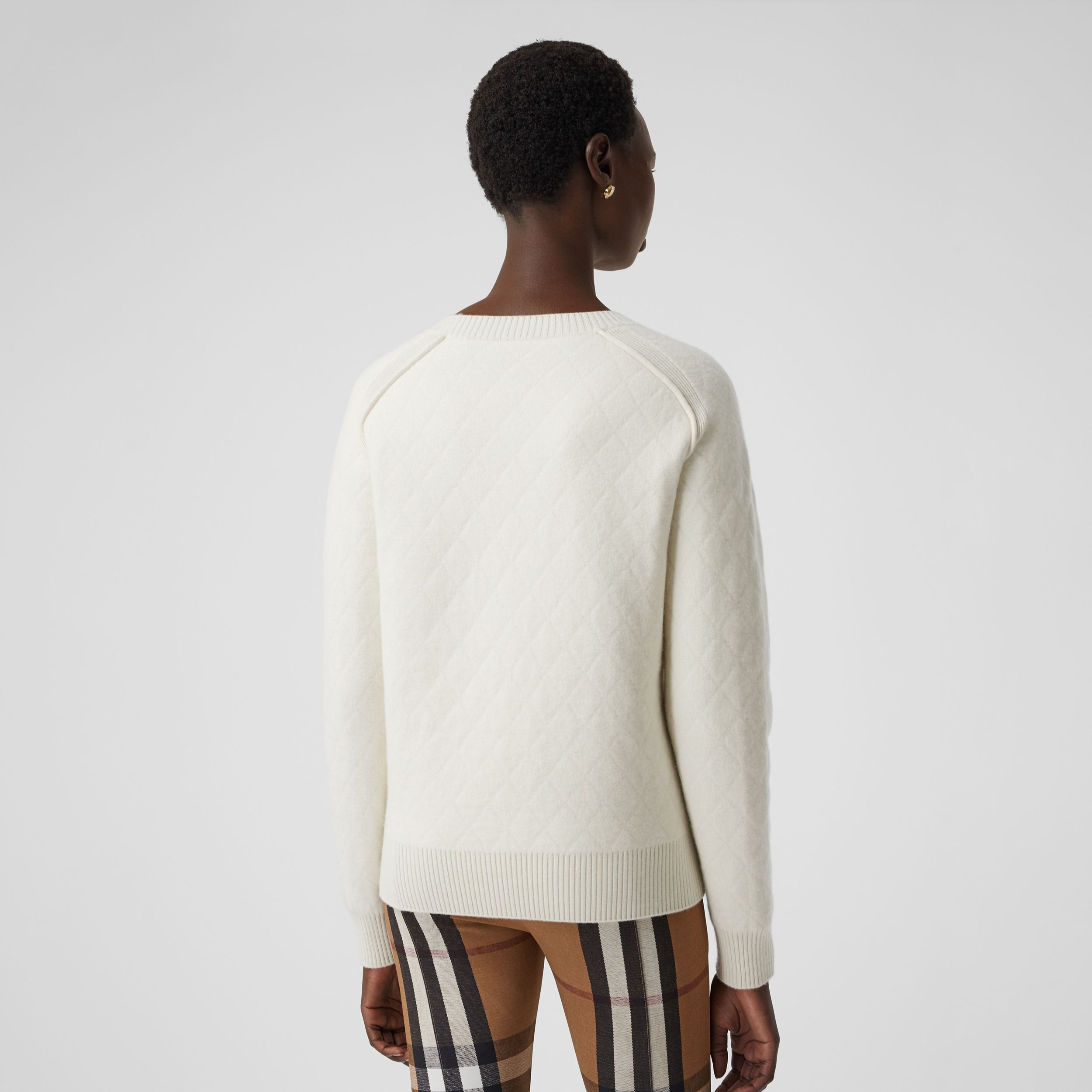 Diamond Knit Wool Sweater in Cream - Women | Burberry - 3