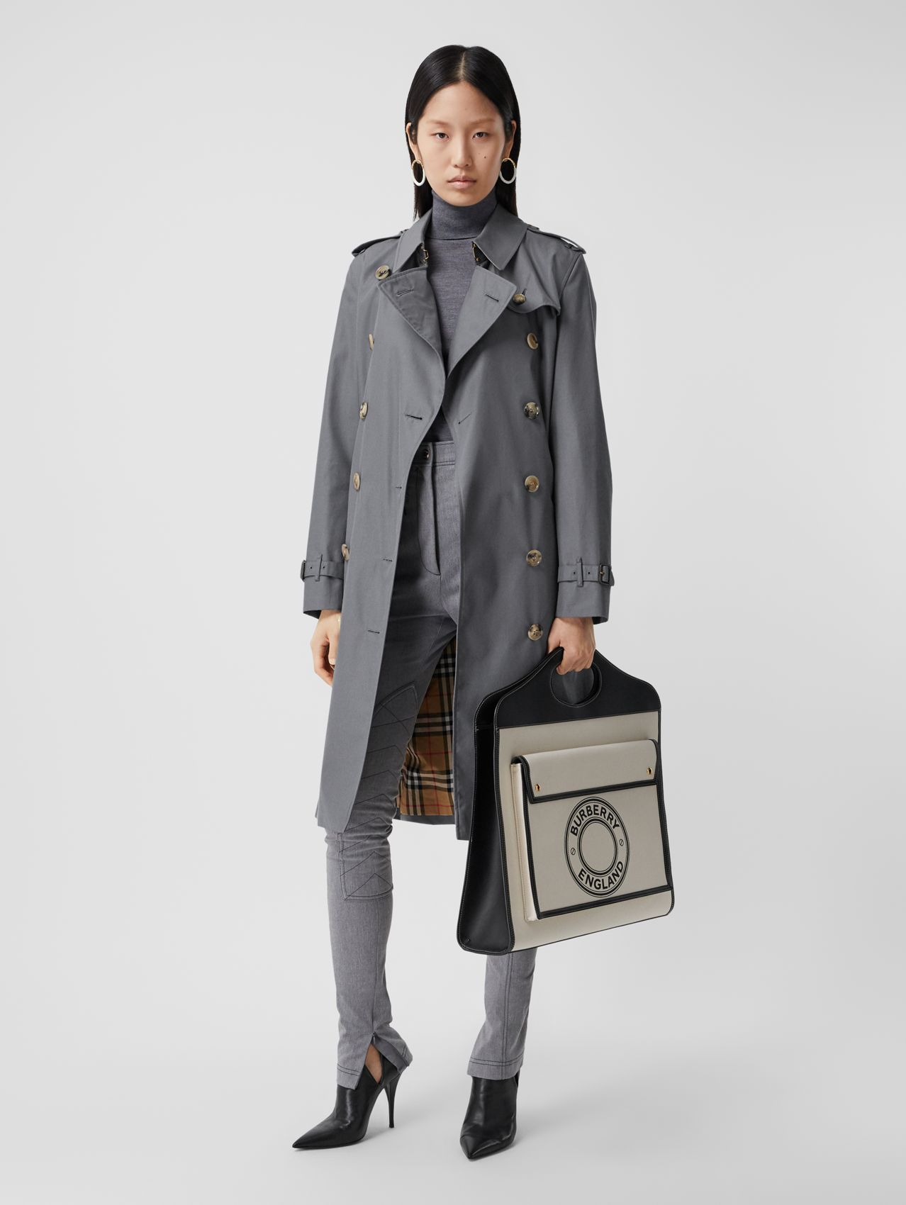 Cotton Gabardine Long Trench Coat in Mid Grey