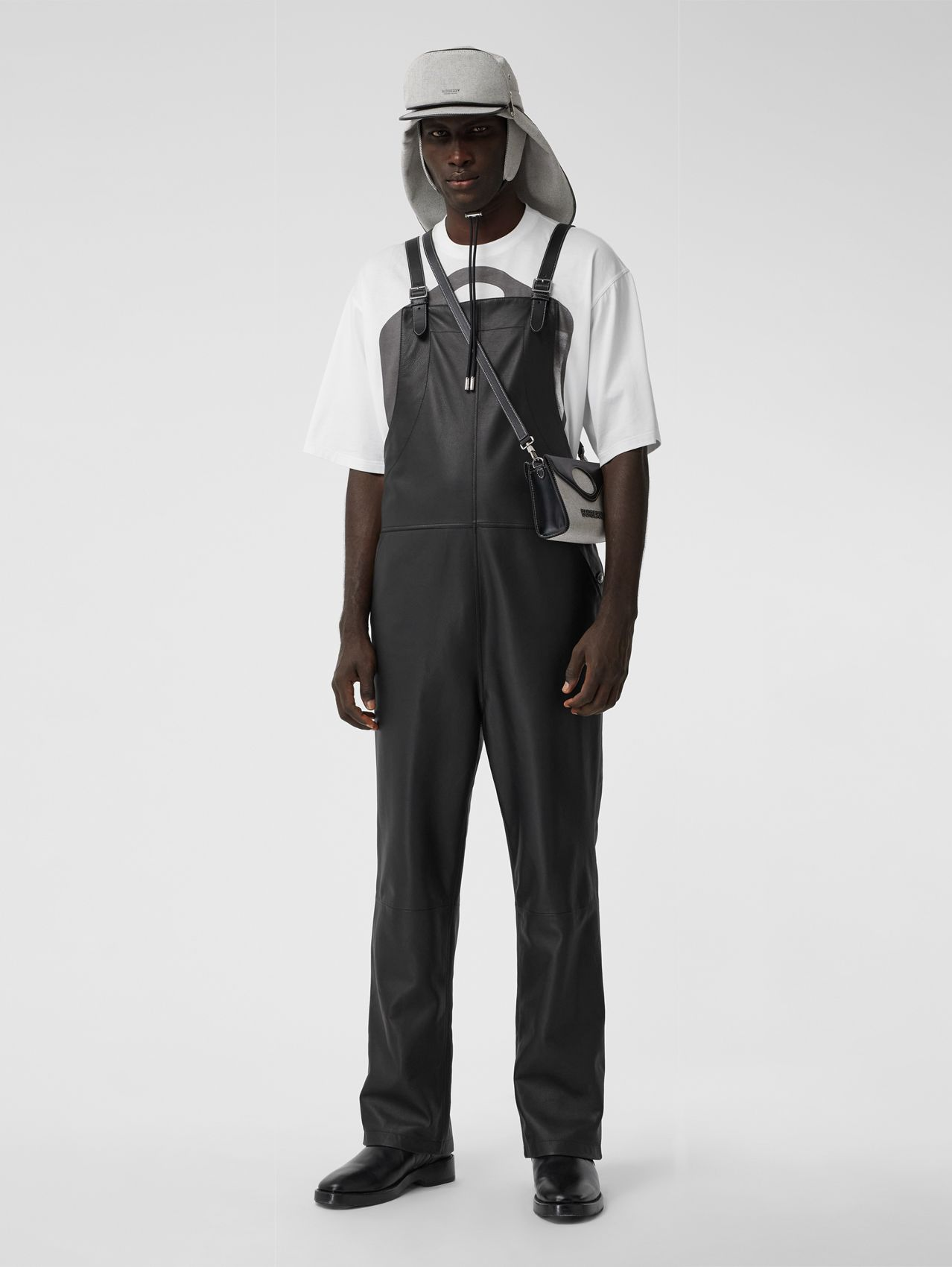 Shark Fin Detail Leather Bib-front Trousers in Black