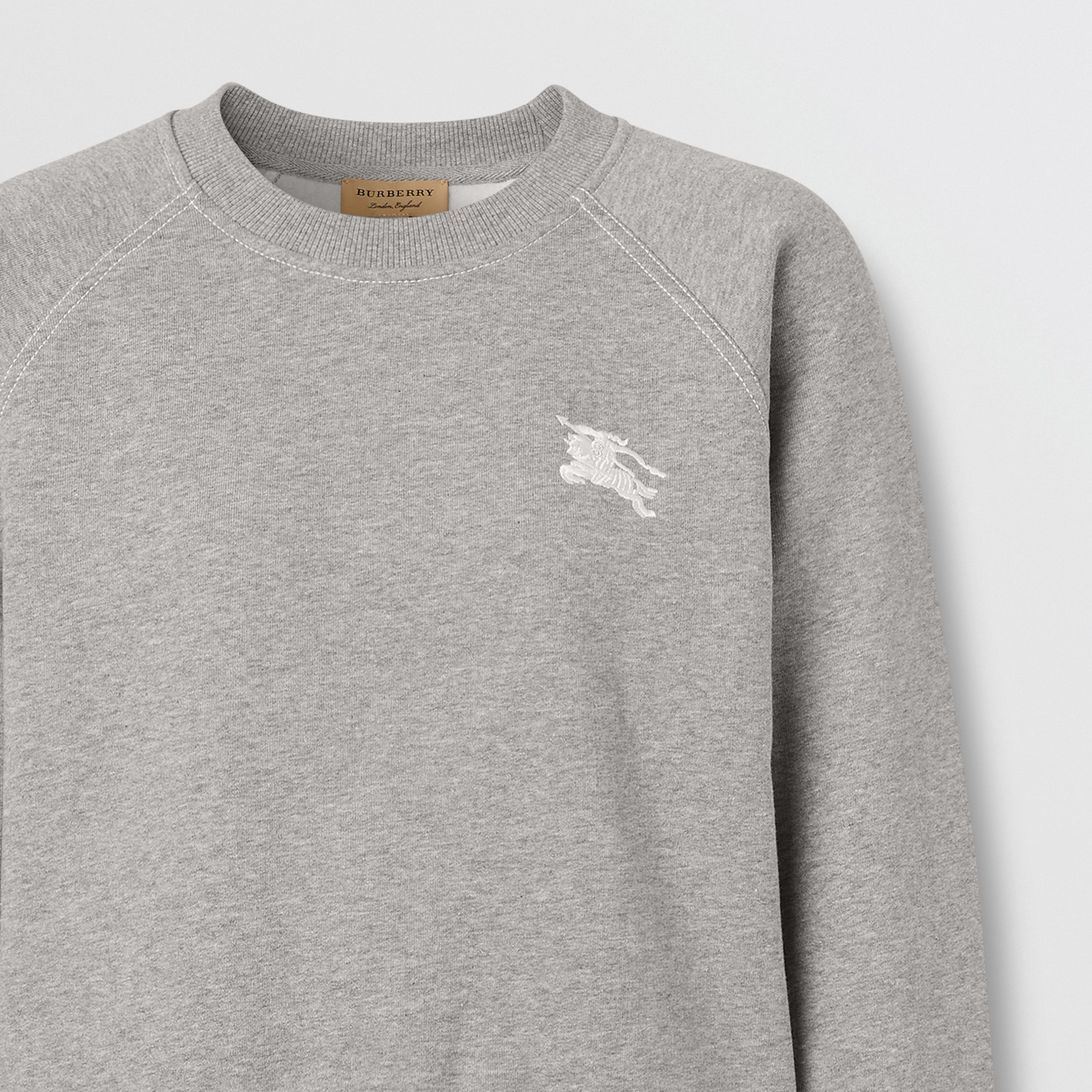 Embroidered EKD Jersey Sweatshirt in Pale Grey Melange - Women | Burberry - 2