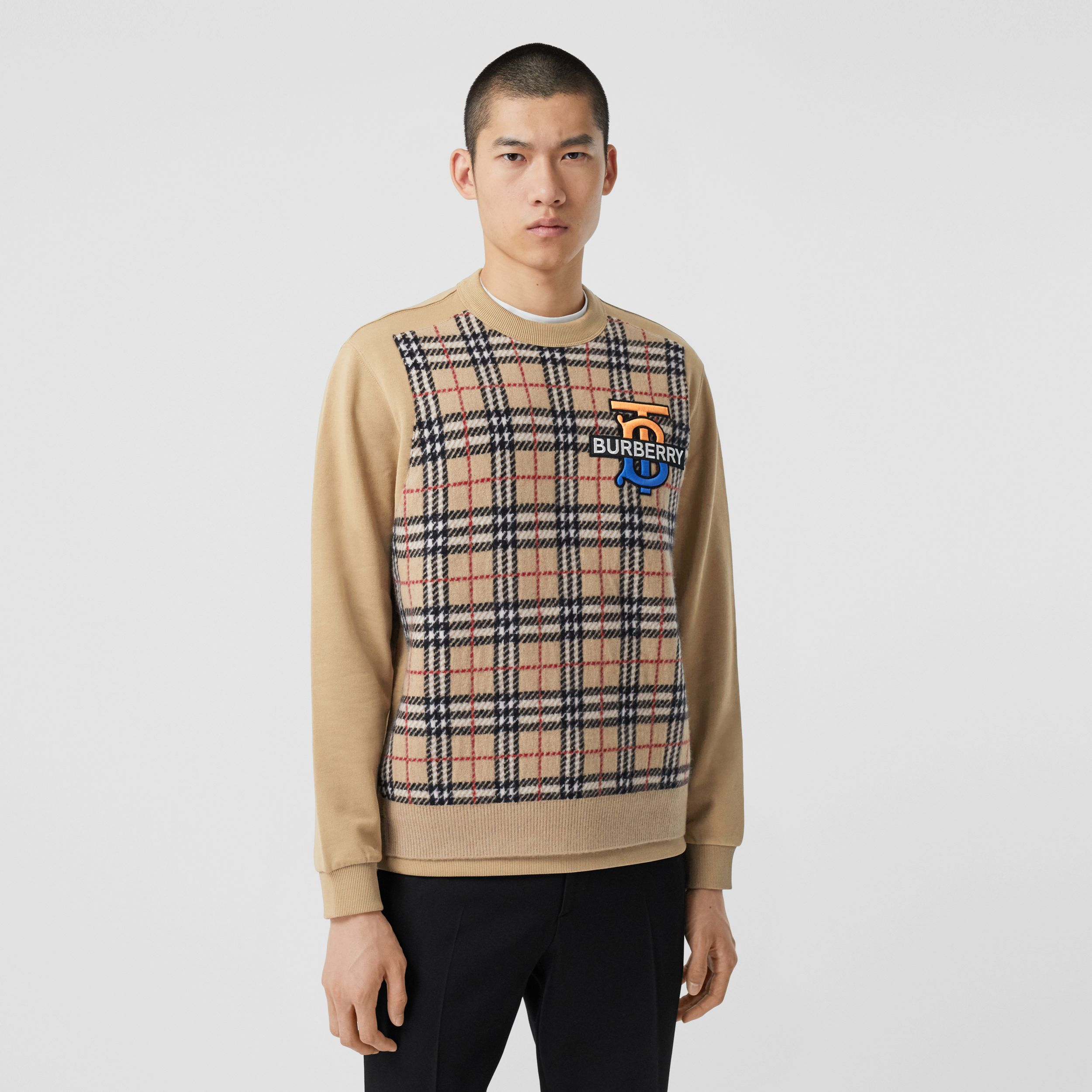 Monogram Motif Check Cashmere Panel Sweatshirt in Archive Beige - Men | Burberry United Kingdom - 1