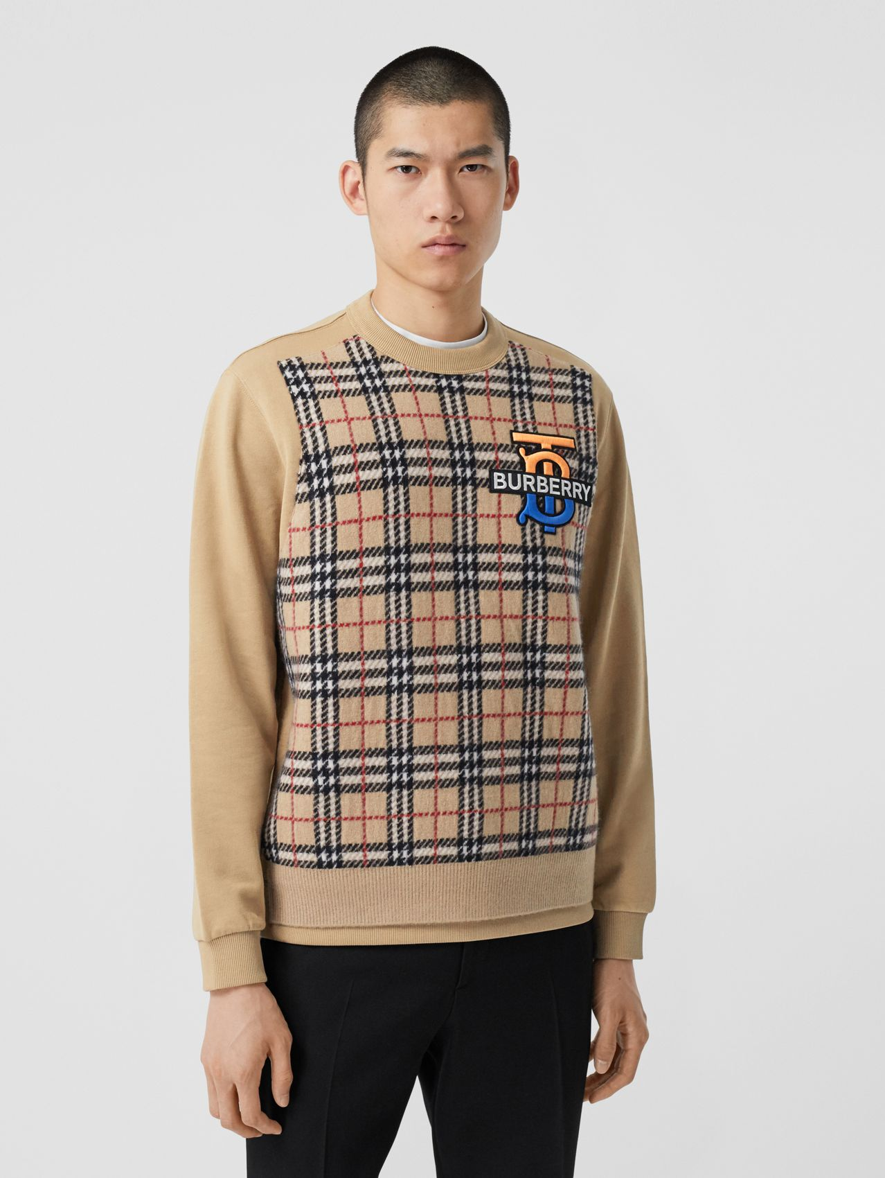 Sweat-shirt avec cachemire check Monogram in Beige D'archive