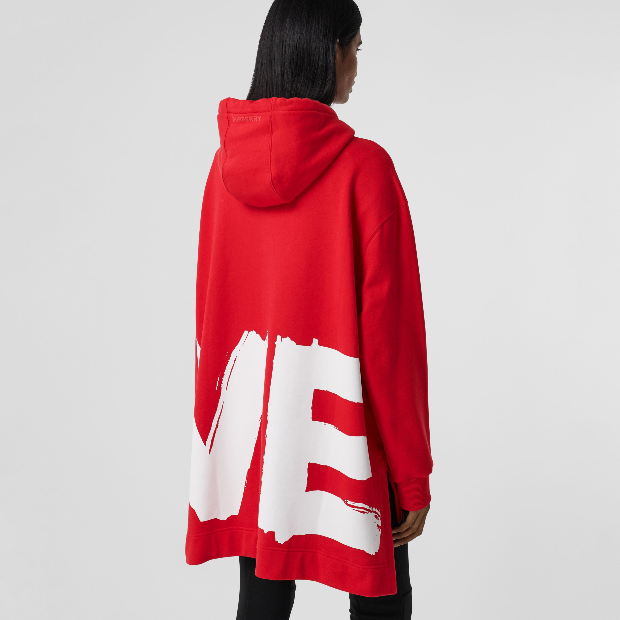 Love Print Cotton Oversized Hoodie in Bright Red - Women | Burberry - 3