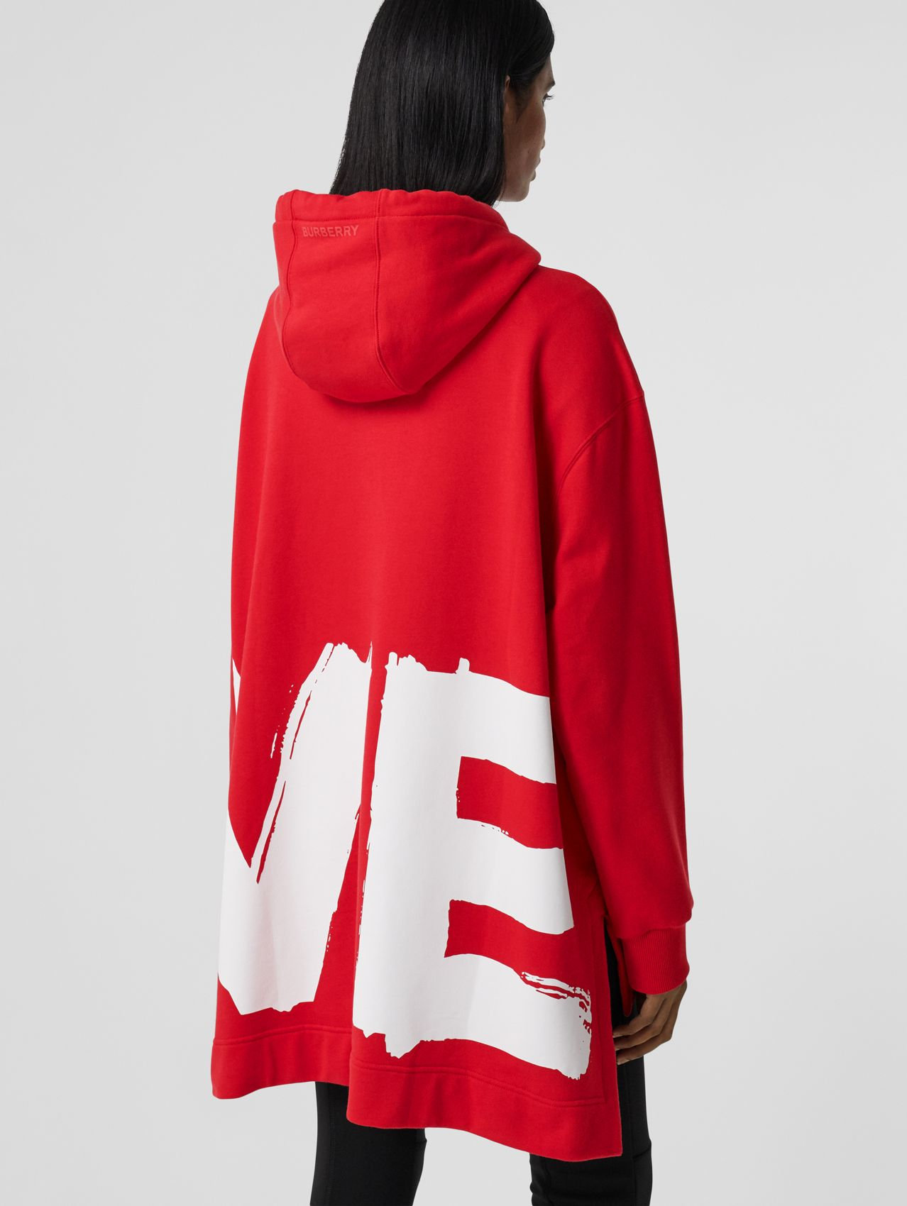 Love Print Cotton Oversized Hoodie in Bright Red