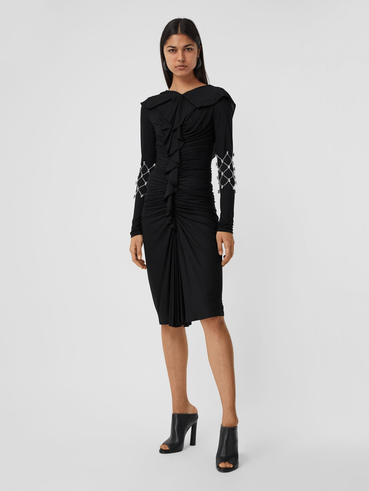 Ruffle Detail Silk Jersey Dress in Black