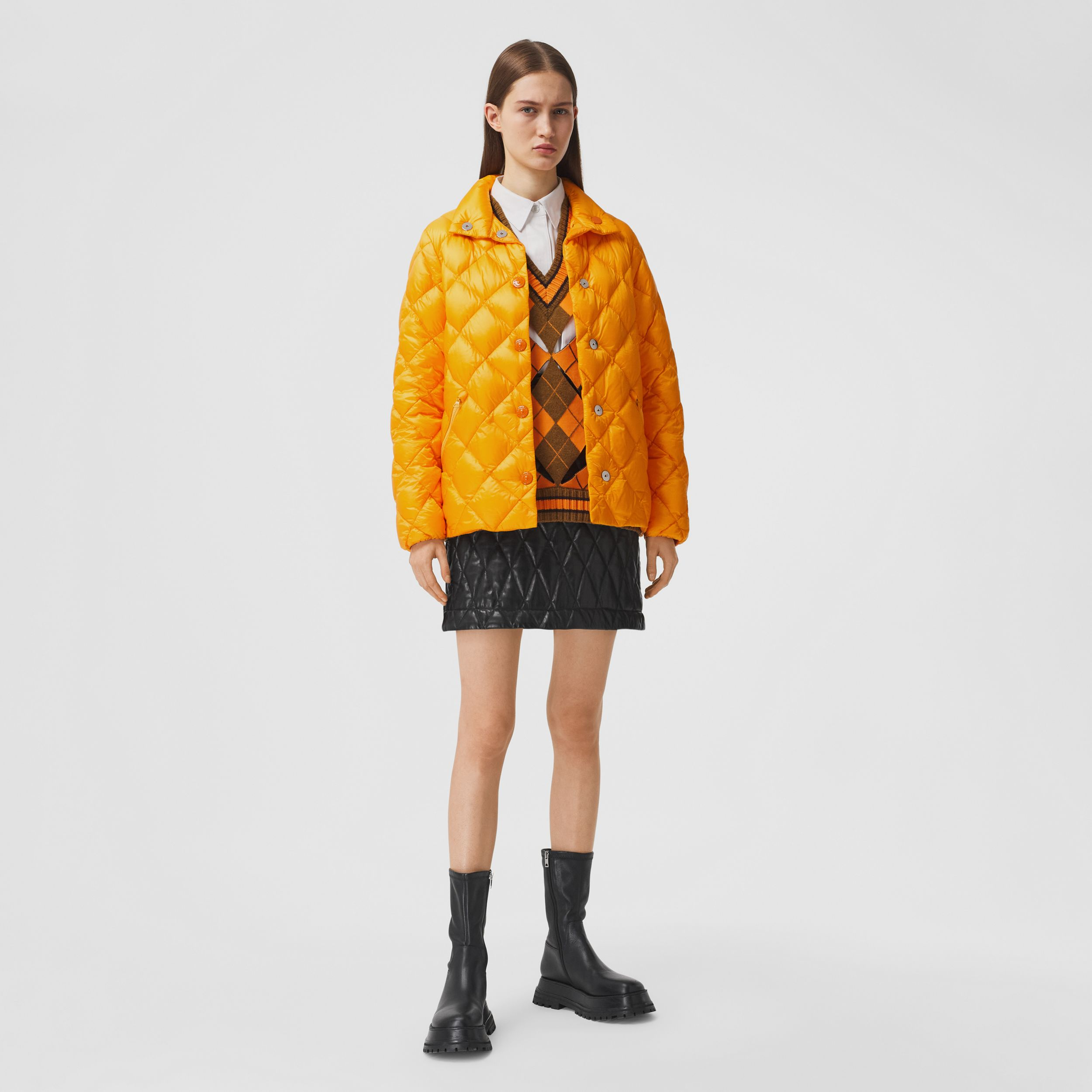Diamond Quilted Down-filled Jacket in Citrus Orange - Women | Burberry Australia - 1