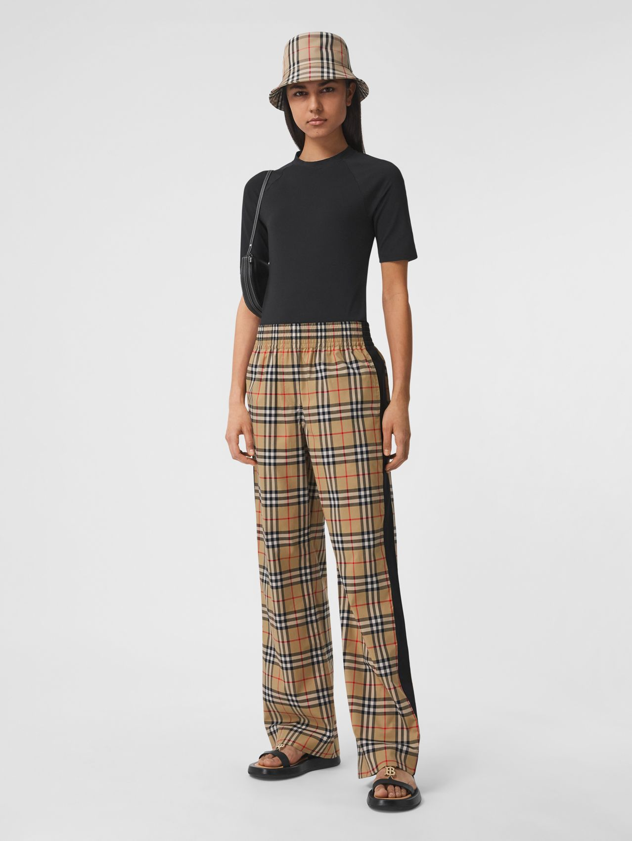 Side Stripe Vintage Check Stretch Cotton Trousers in Archive Beige