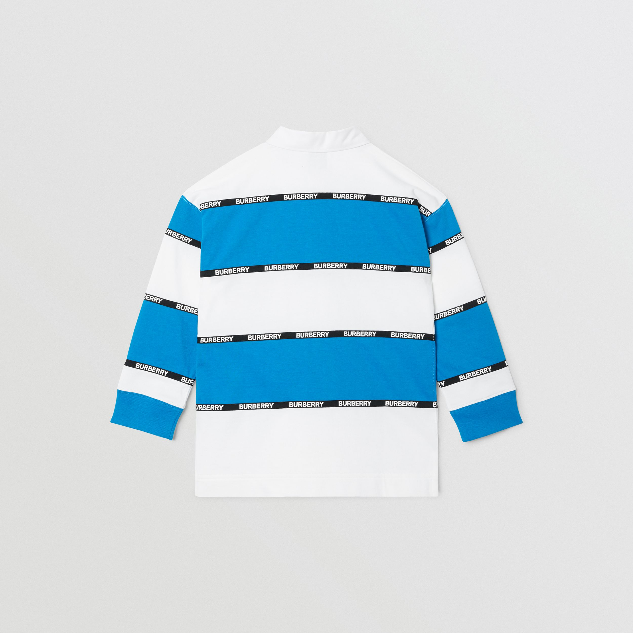 Long-sleeve Logo Tape Striped Cotton Polo Shirt | Burberry - 4