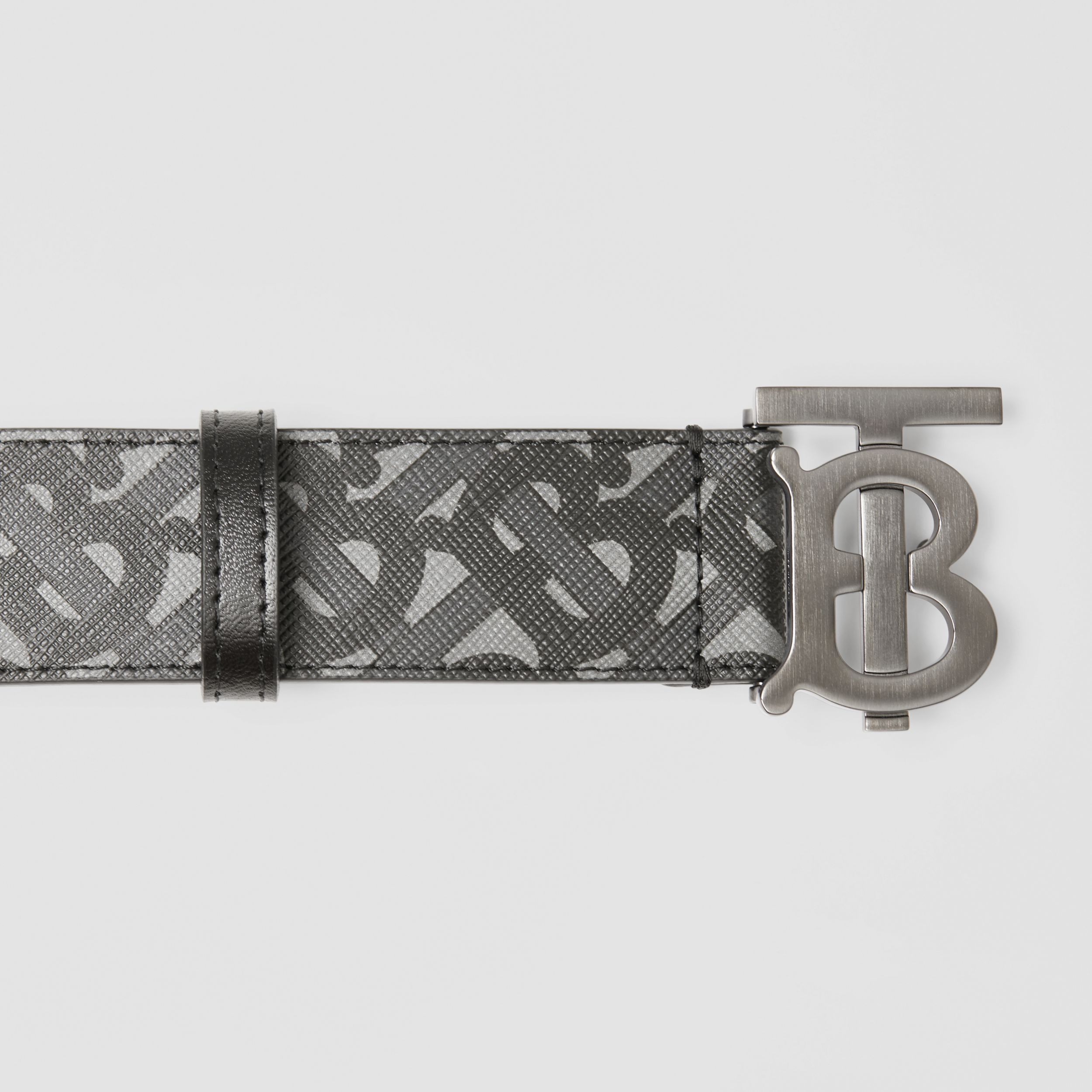 Monogram E-canvas and Leather Belt in Charcoal/black/dark Graphite - Men | Burberry - 2