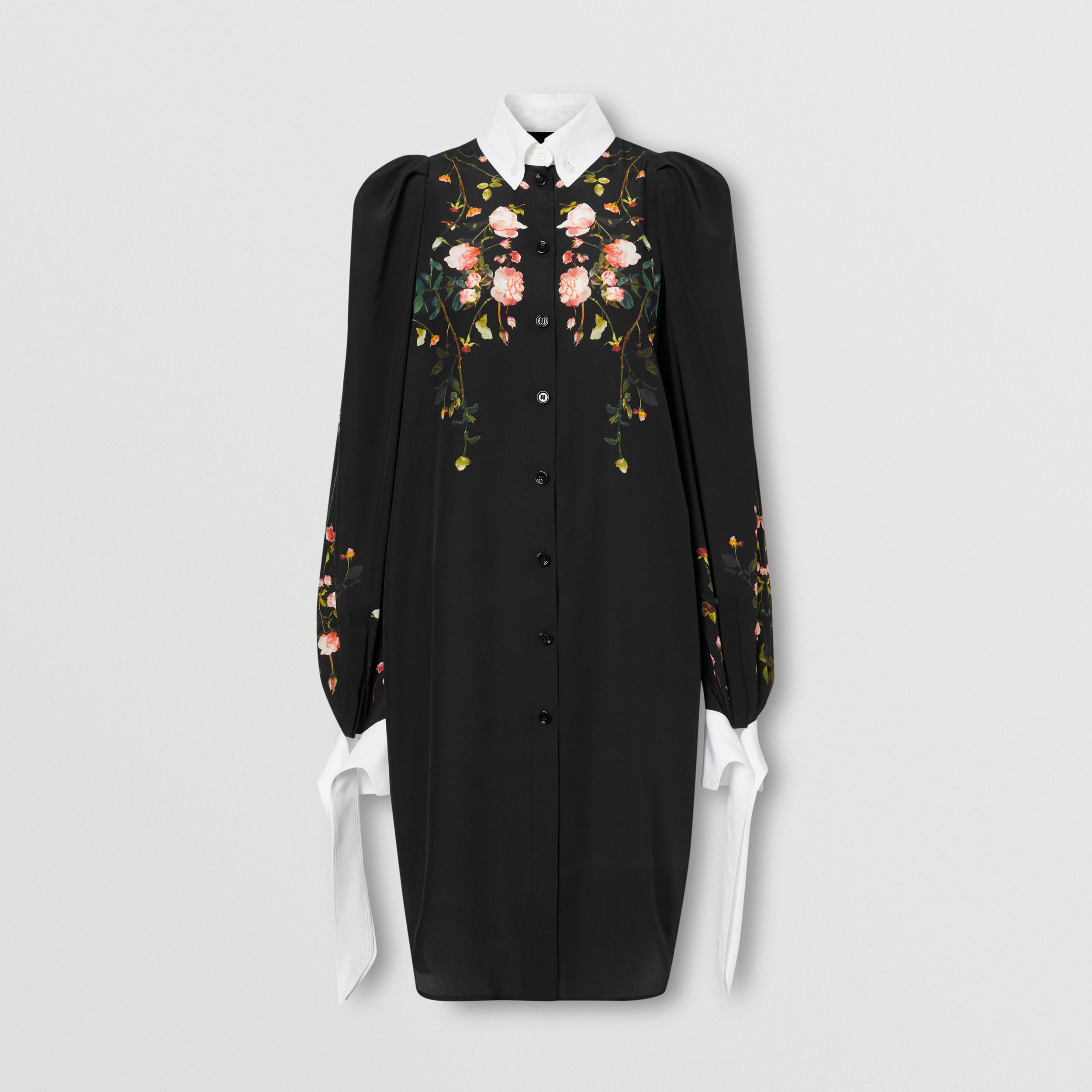 Rose Print Silk Crepe De Chine Shirt Dress in Black - Women | Burberry - 4