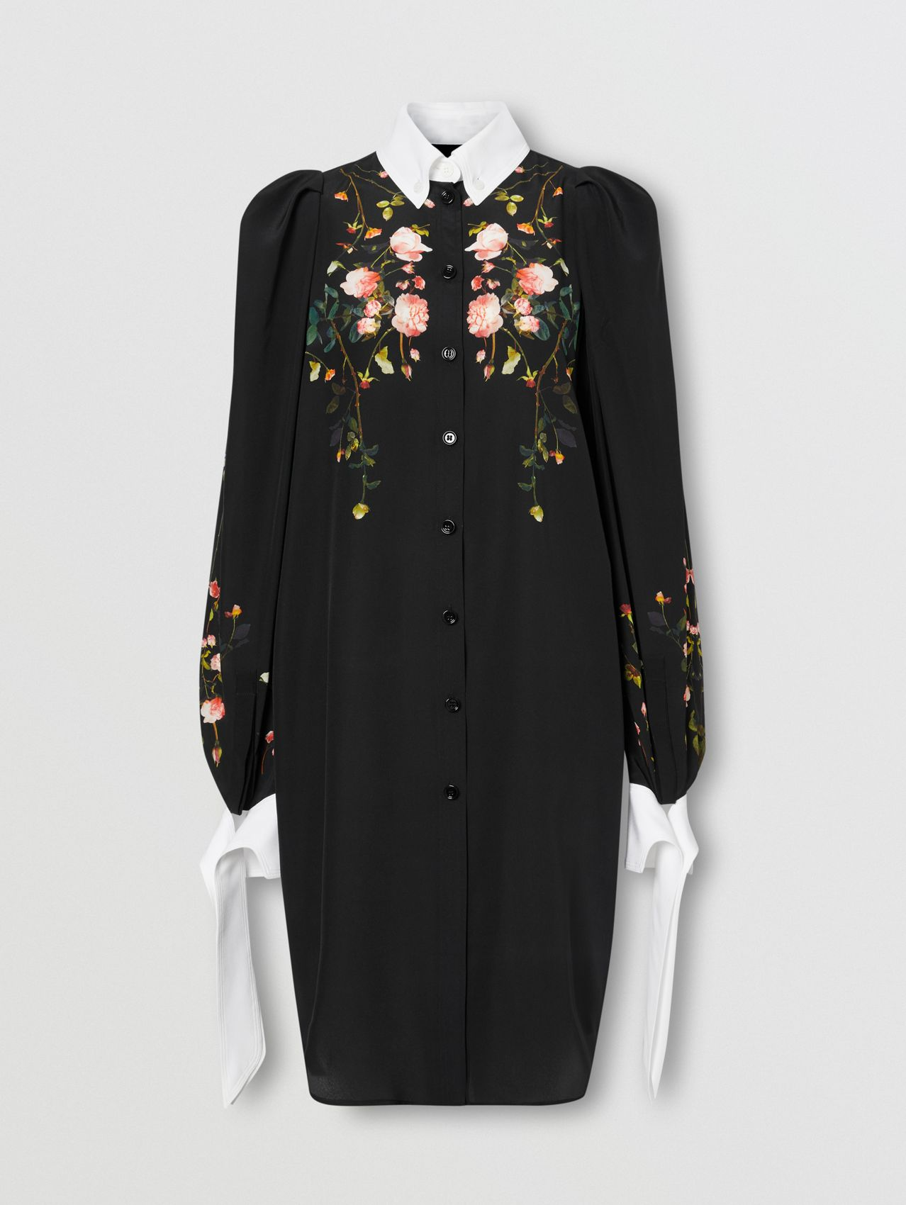 Rose Print Silk Crepe De Chine Shirt Dress in Black