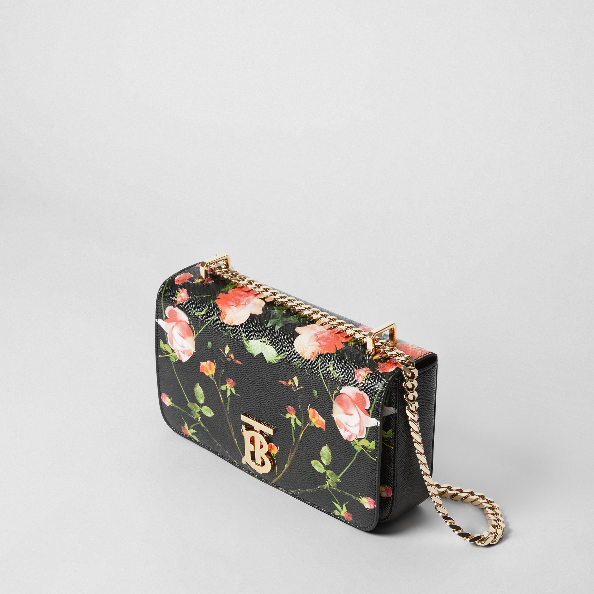 Small Rose Print E-canvas Lola Bag – Online Exclusive in Black - Women | Burberry - 4