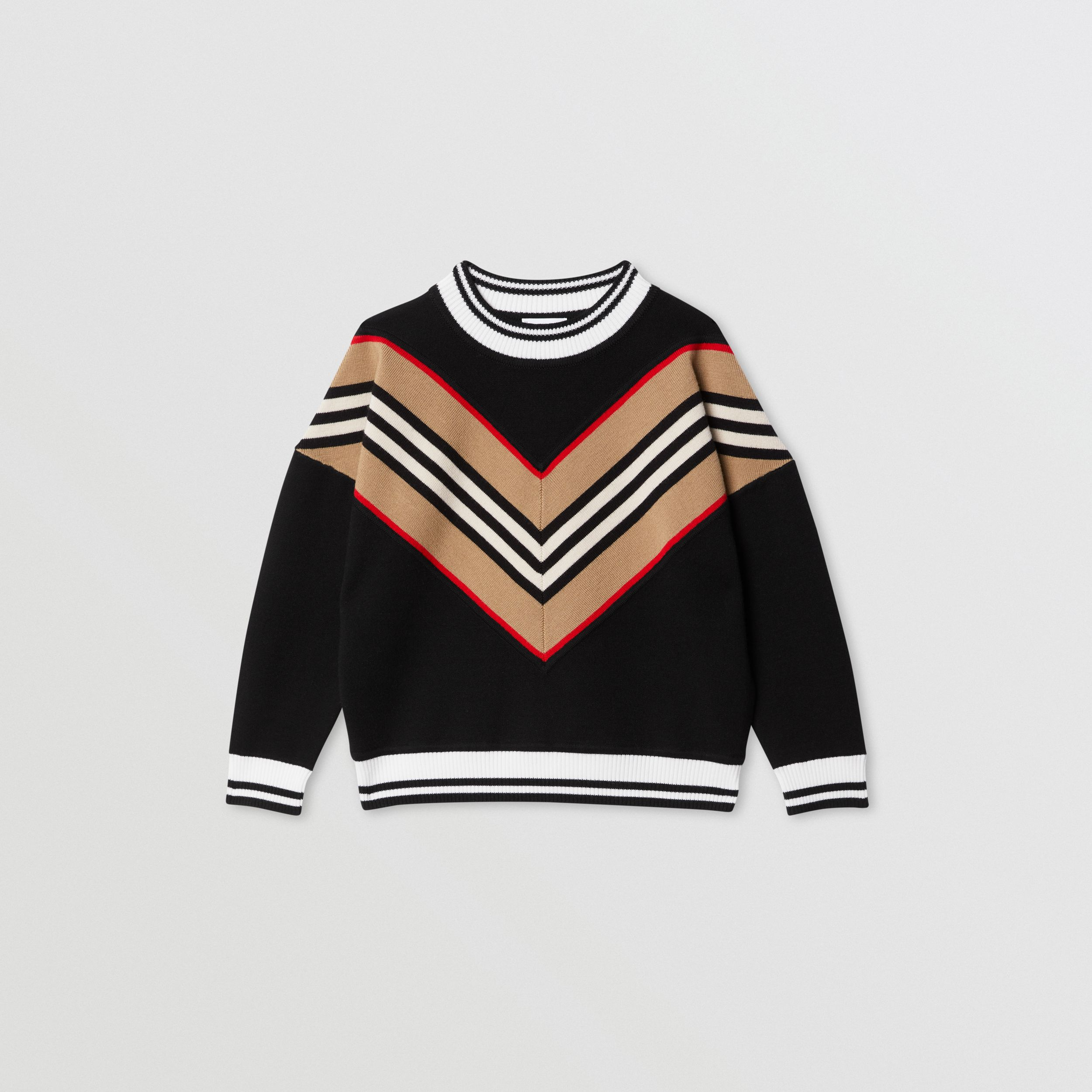 Icon Stripe Panel Wool Blend Sweater in Black | Burberry - 1