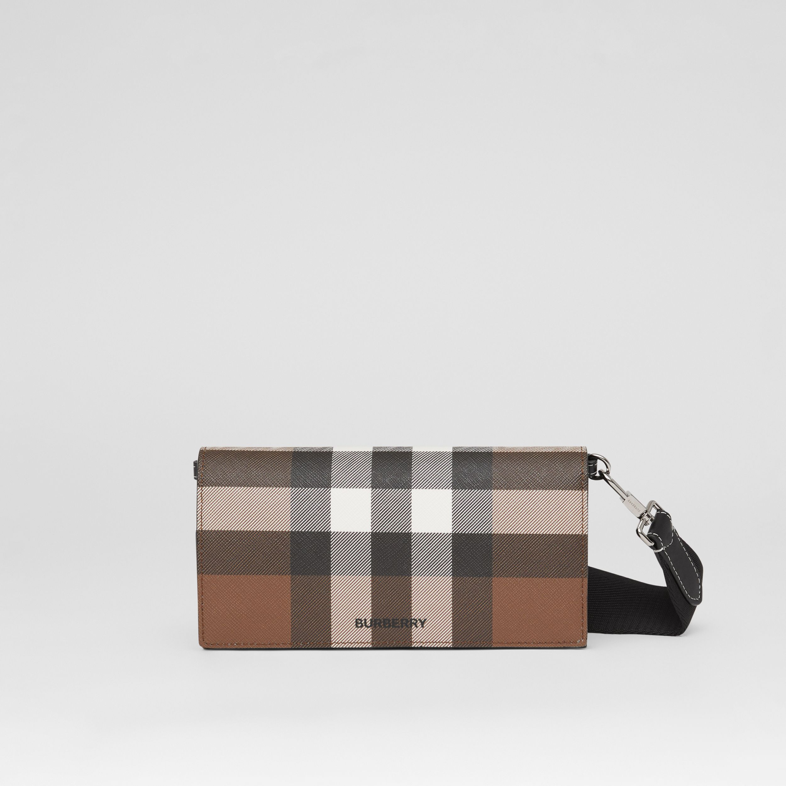 Check E-canvas Wallet with Detachable Strap in Dark Birch Brown | Burberry - 1