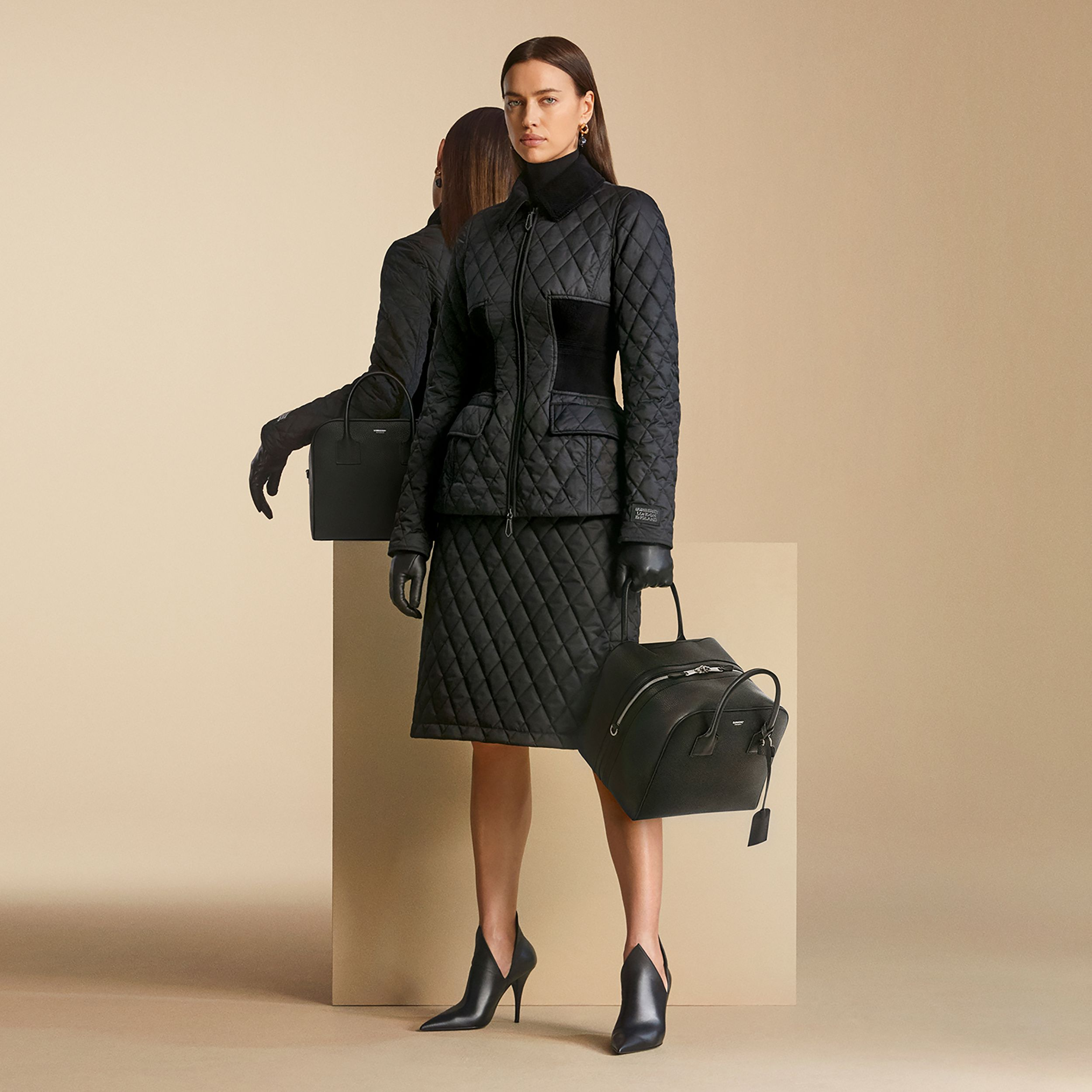 Diamond Quilted A-line Skirt in Black - Women | Burberry - 2