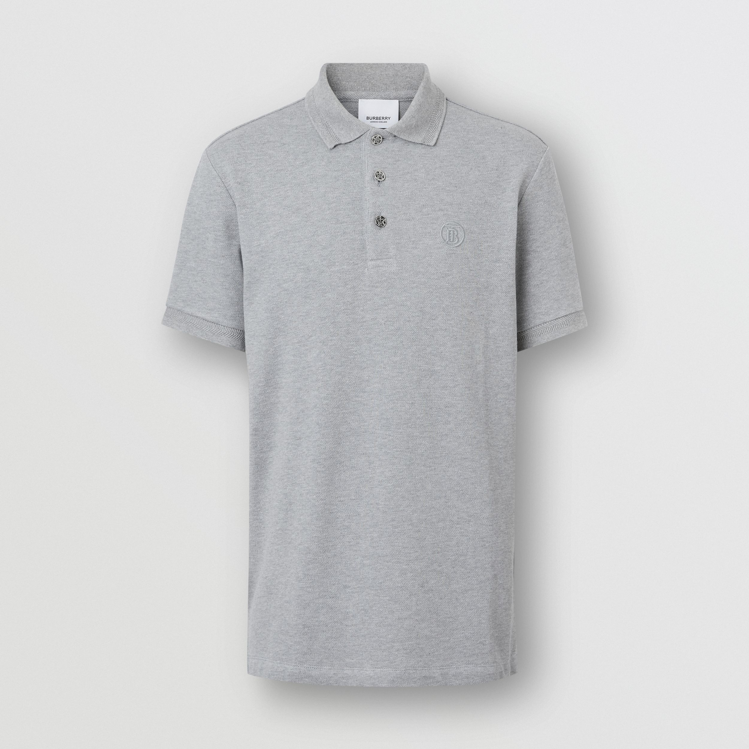Button Detail Cotton Piqué Polo Shirt in Pale Grey Melange - Men | Burberry - 4