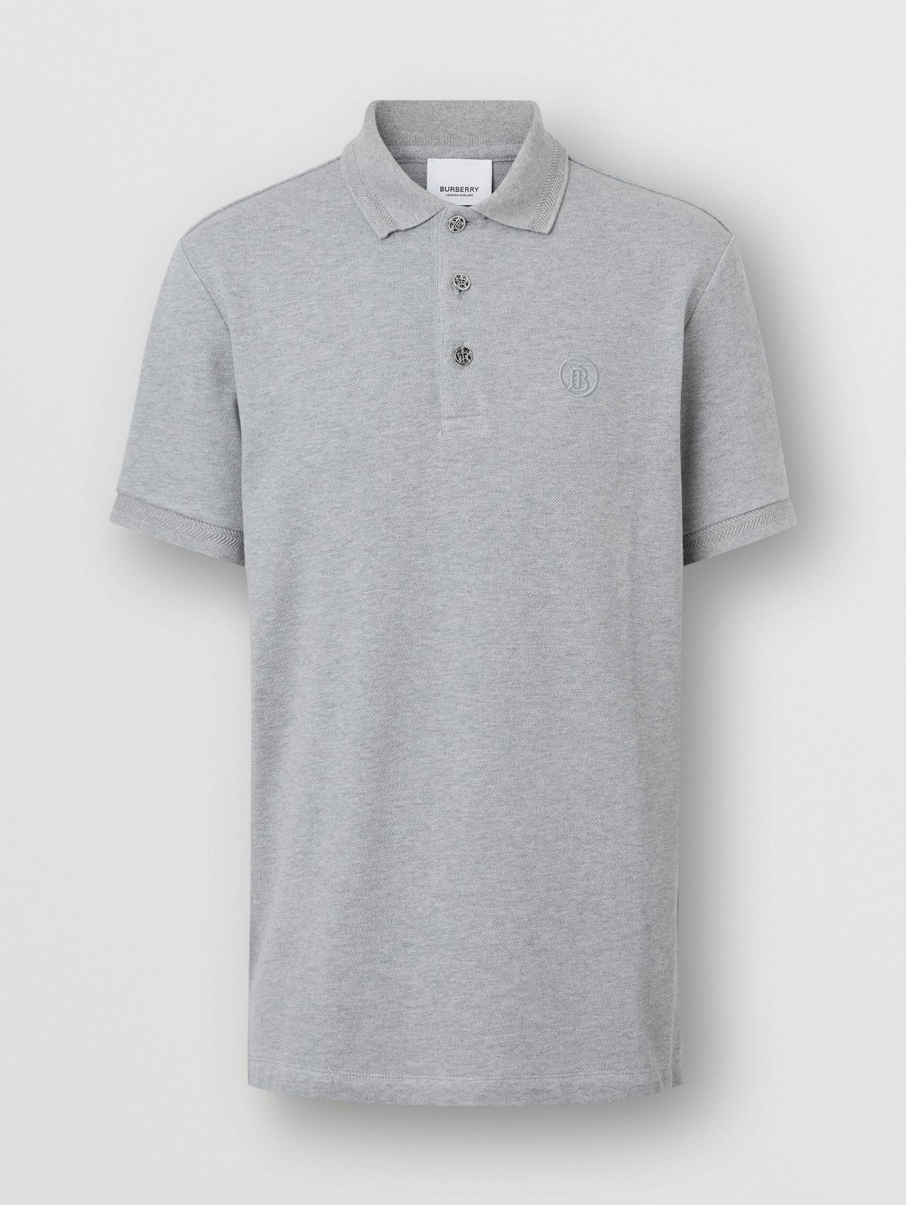 Button Detail Cotton Piqué Polo Shirt in Pale Grey Melange