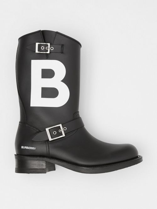 Burberry TB Motif Leather Biker Boots