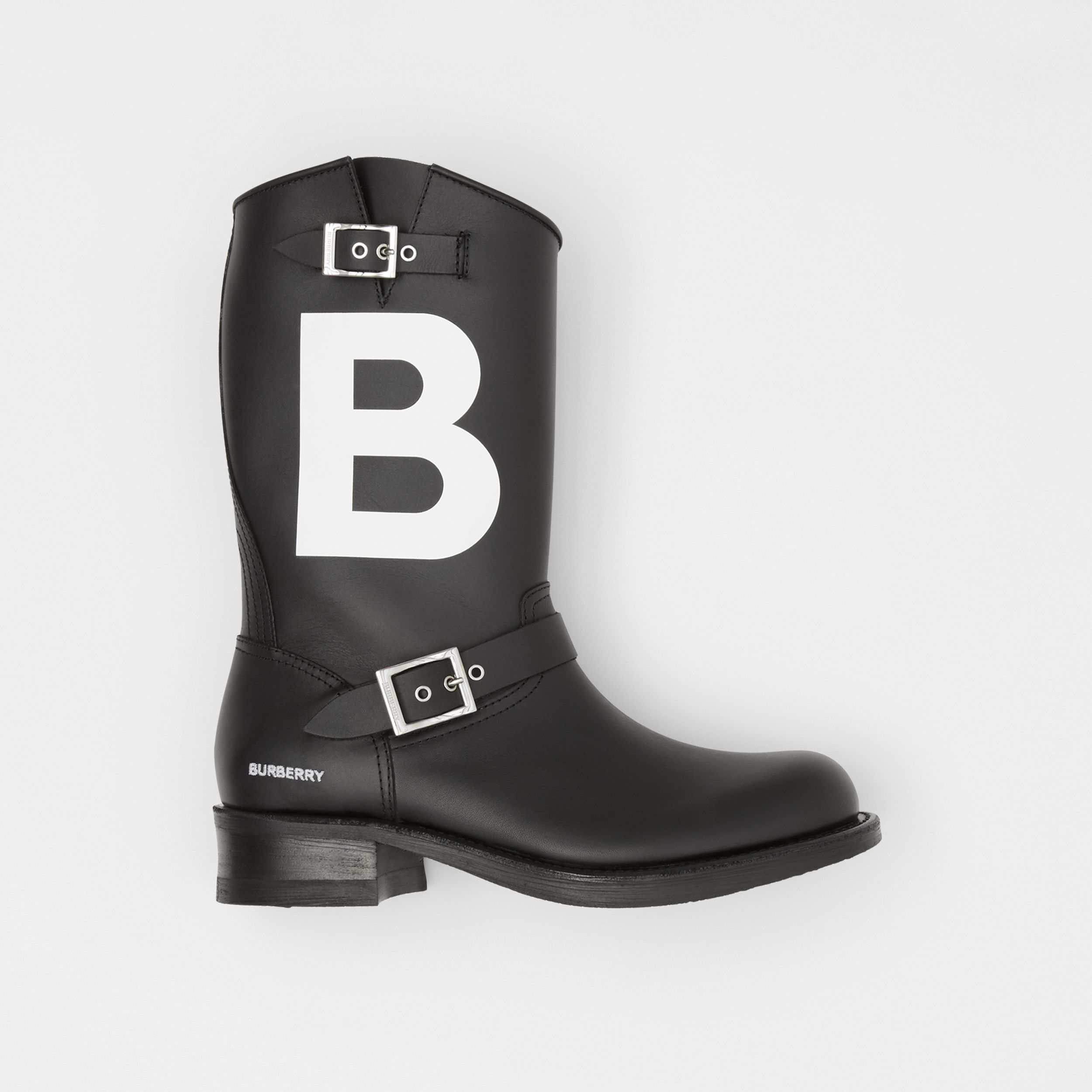 TB Motif Leather Biker Boots in Black - Men | Burberry - 1