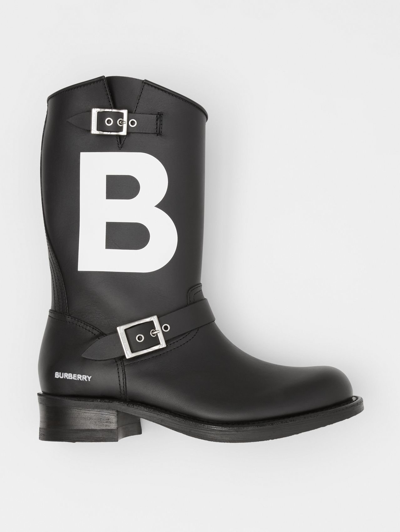 TB Motif Leather Biker Boots in Black
