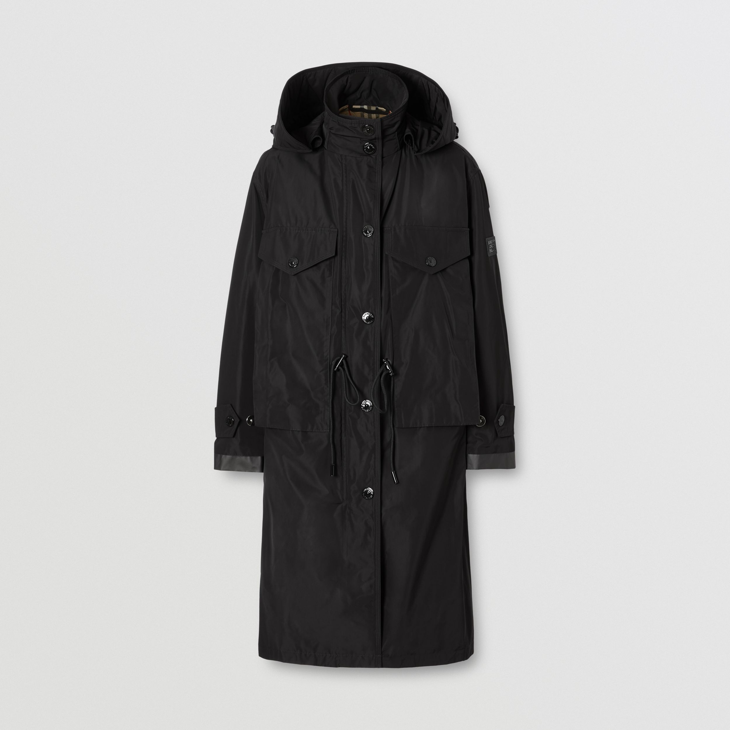 Detachable Hood Shape-memory Taffeta Parka in Black - Women | Burberry Australia - 4