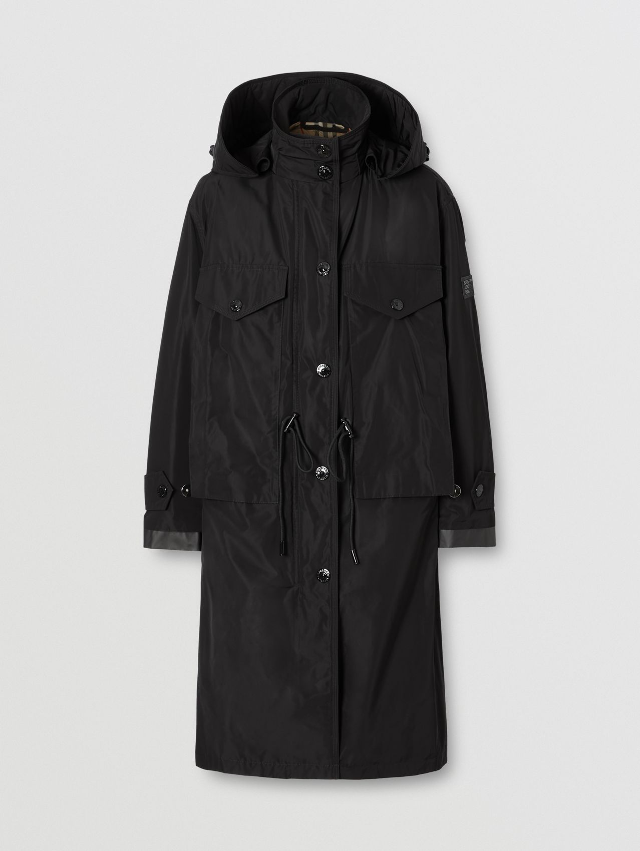 Detachable Hood Shape-memory Taffeta Parka in Black