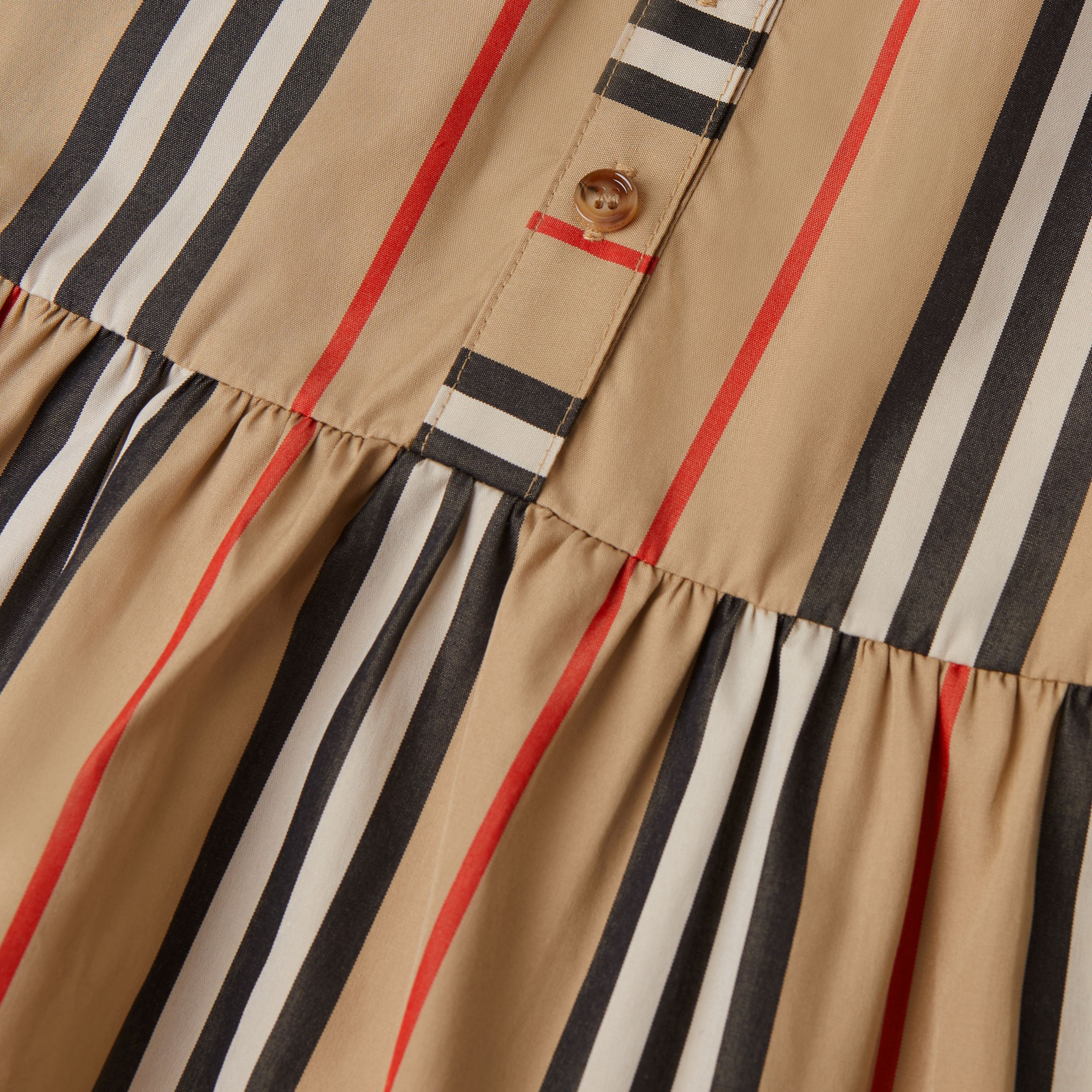 Icon Stripe Gathered Cotton Poplin Dress - Children | Burberry United Kingdom - 2