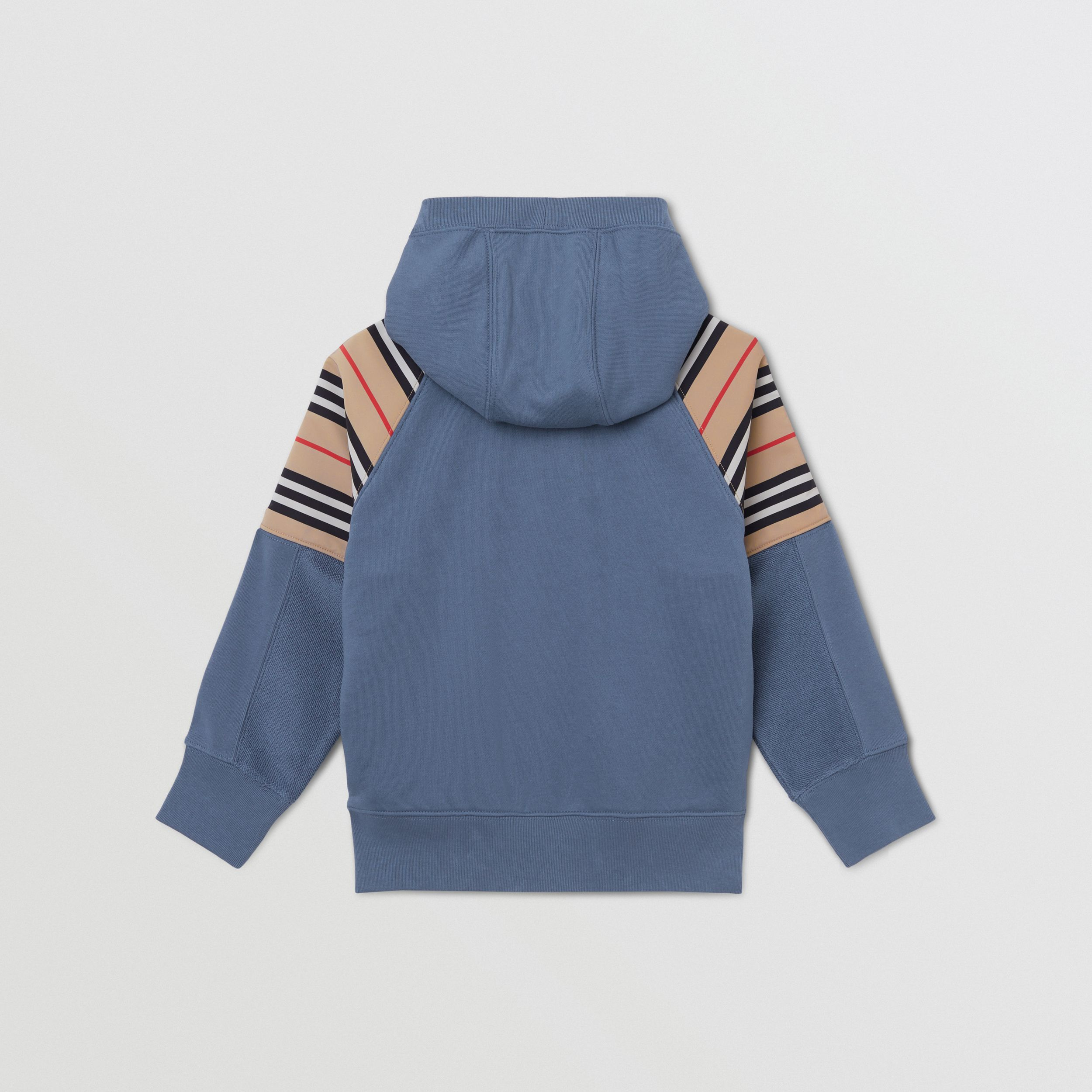 Icon Stripe Panel Cotton Hooded Top in Steel Blue | Burberry - 4