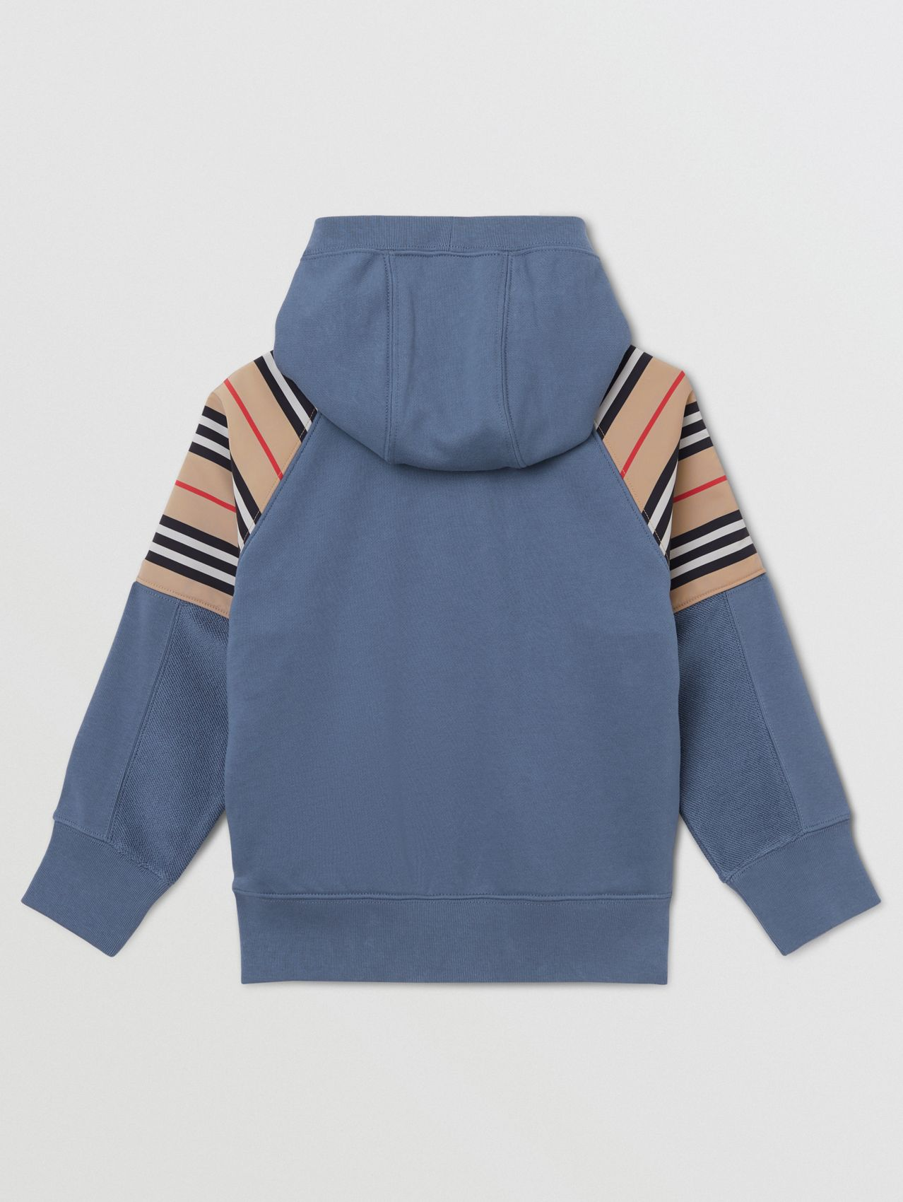 Icon Stripe Panel Cotton Hooded Top in Steel Blue
