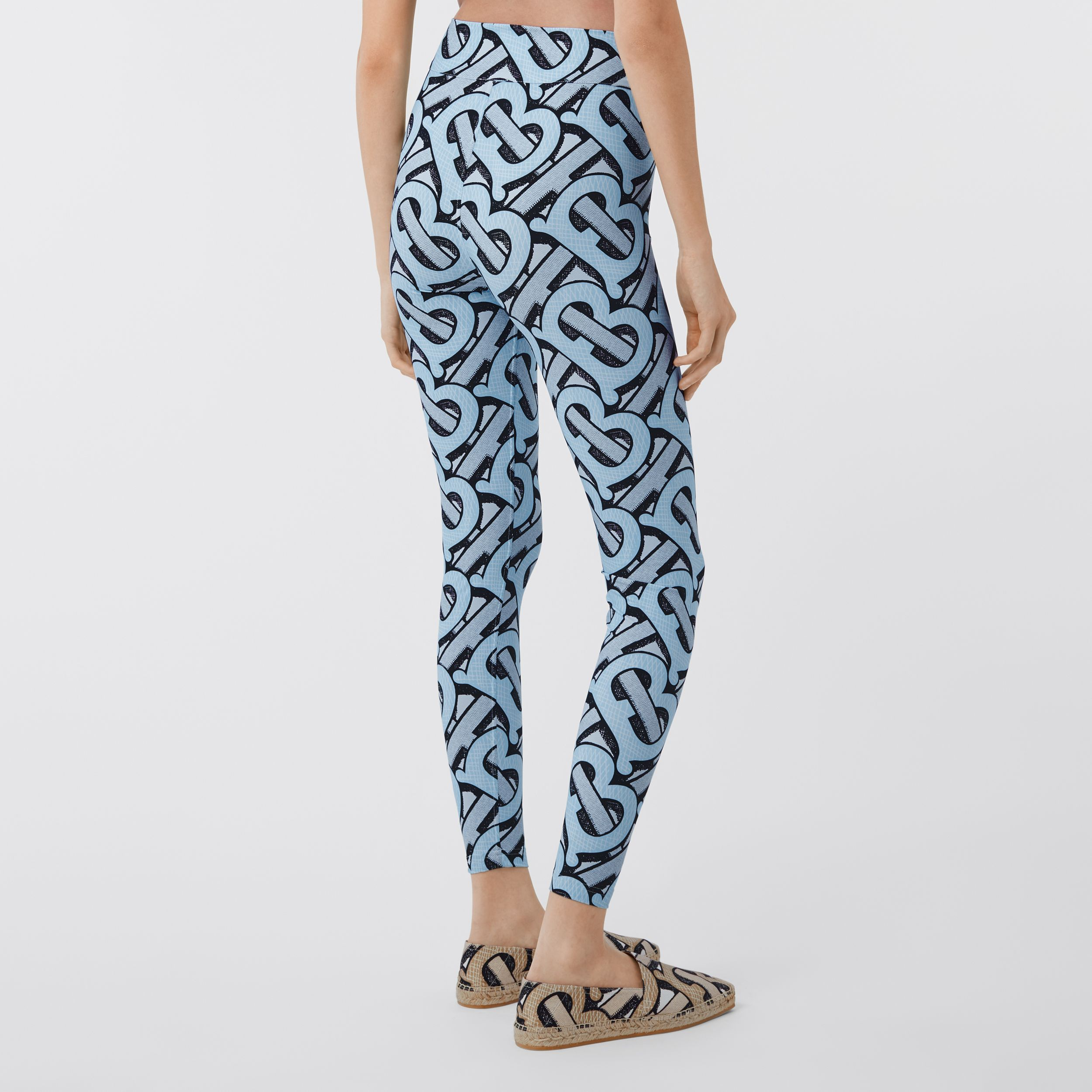 Monogram Print Stretch Nylon Leggings in Pale Azure - Women | Burberry - 3