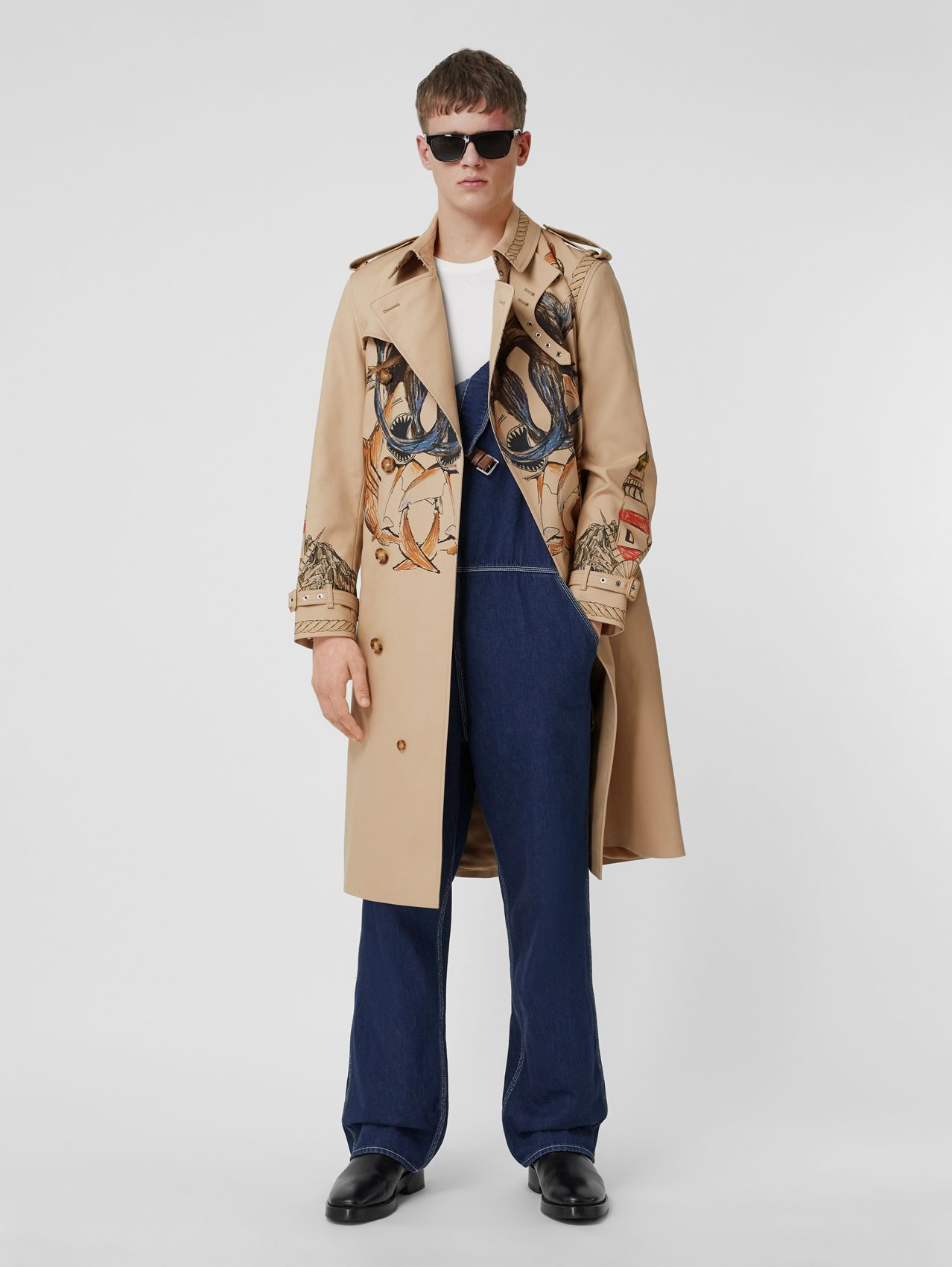 Marine Sketch Print Cotton Trench Coat in Midnight Navy