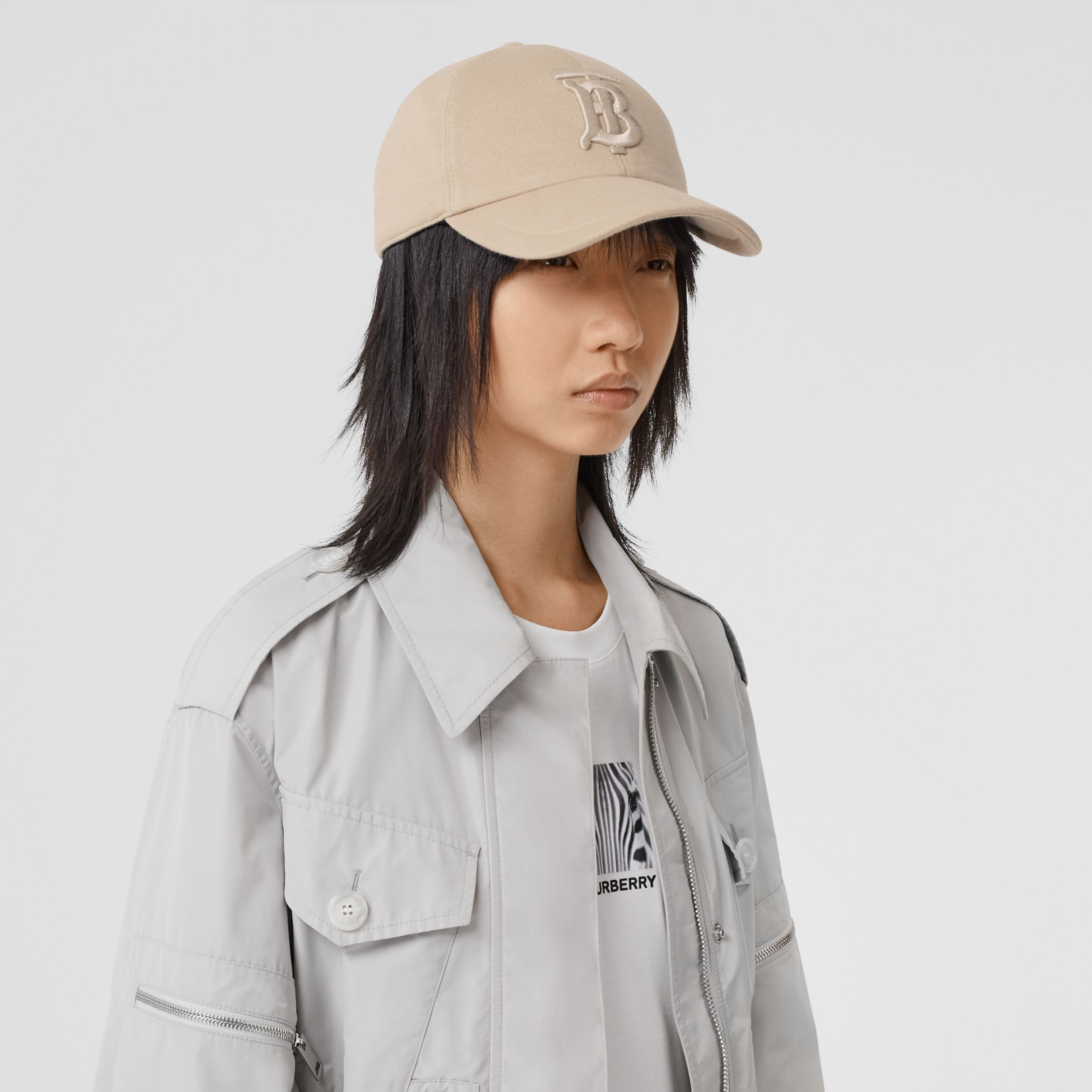 Monogram Motif Jersey Baseball Cap in Soft Fawn | Burberry Singapore - 3