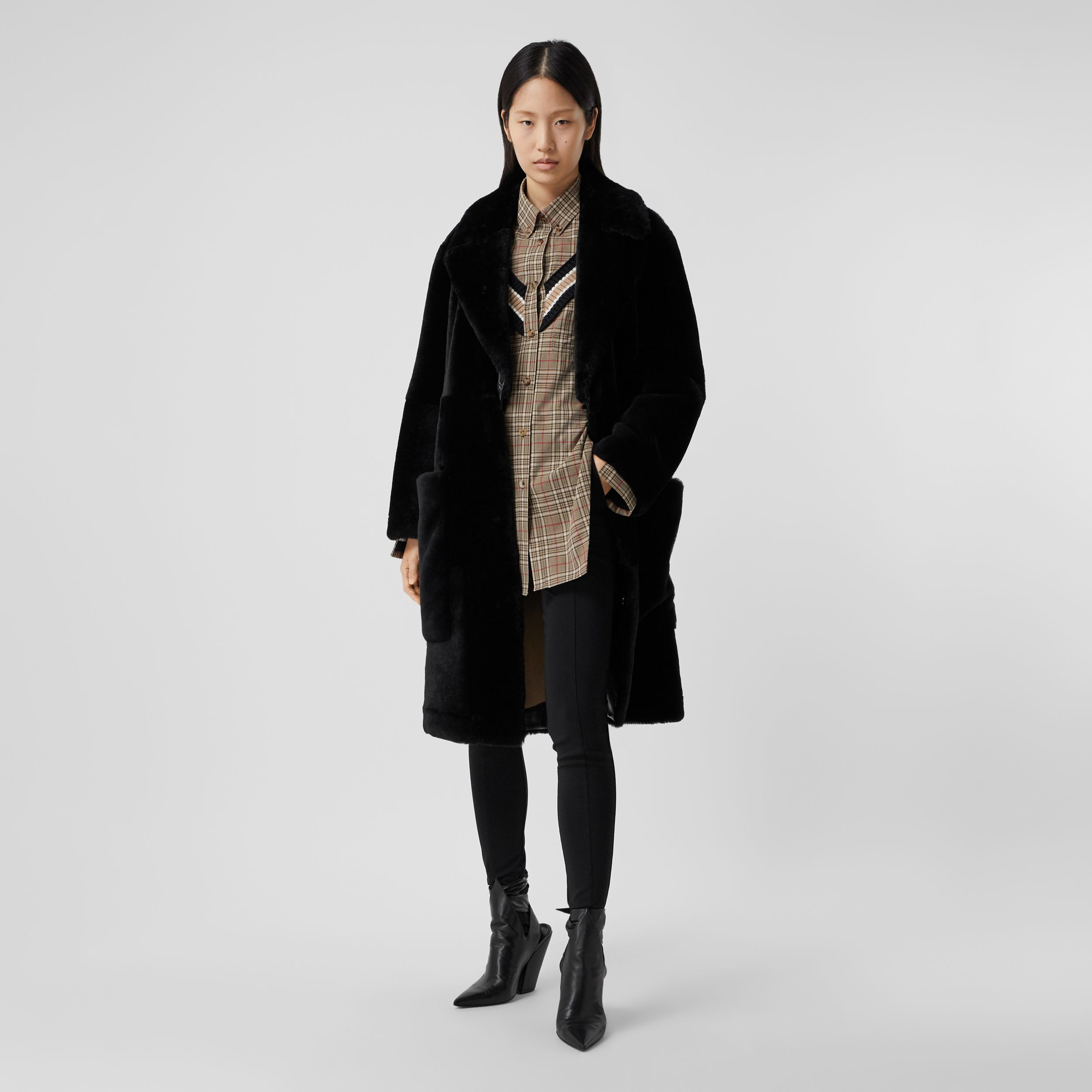 Lambskin Trim Shearling Tailored Coat in Black - Women | Burberry - 1