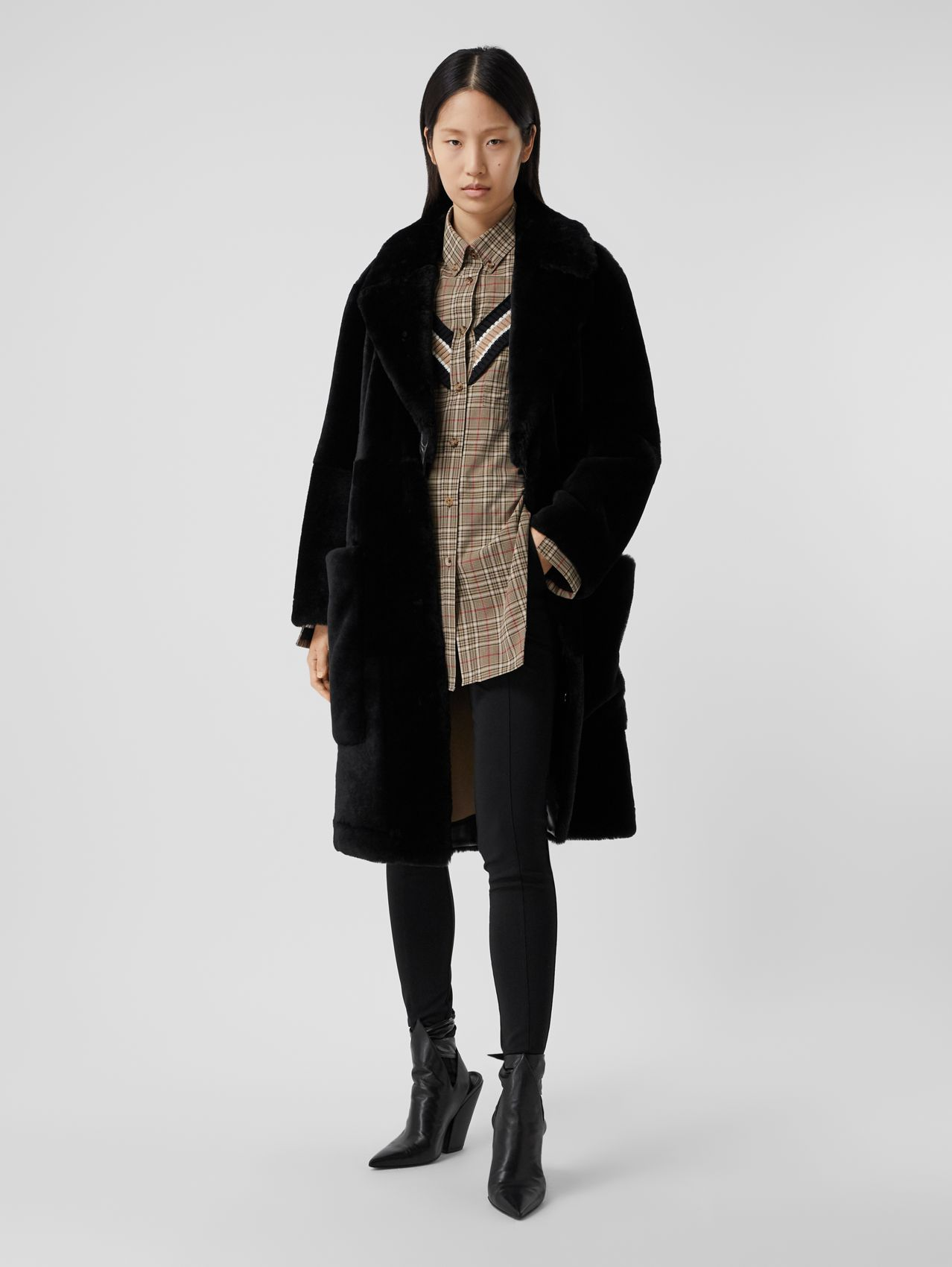 Lambskin Trim Shearling Tailored Coat in Black