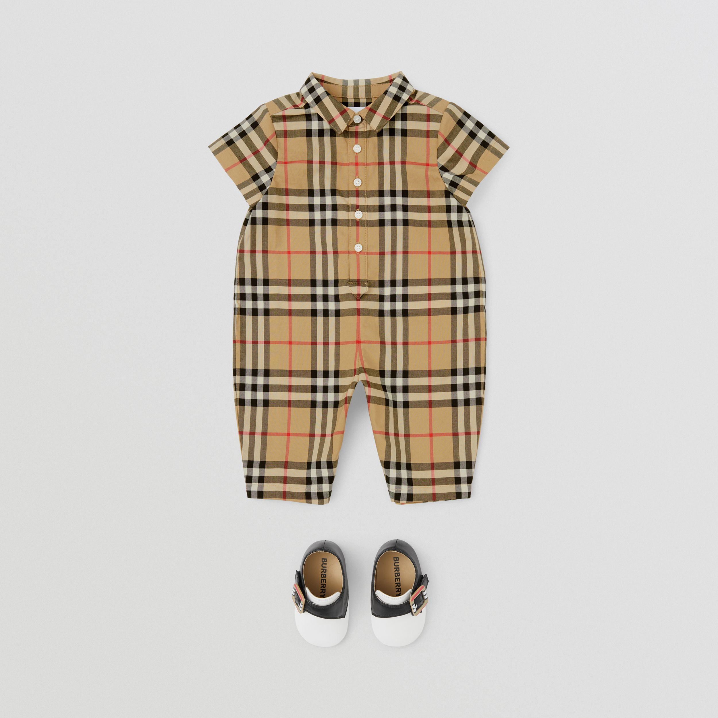 Vintage Check Cotton Playsuit in Archive Beige - Children | Burberry United Kingdom - 3