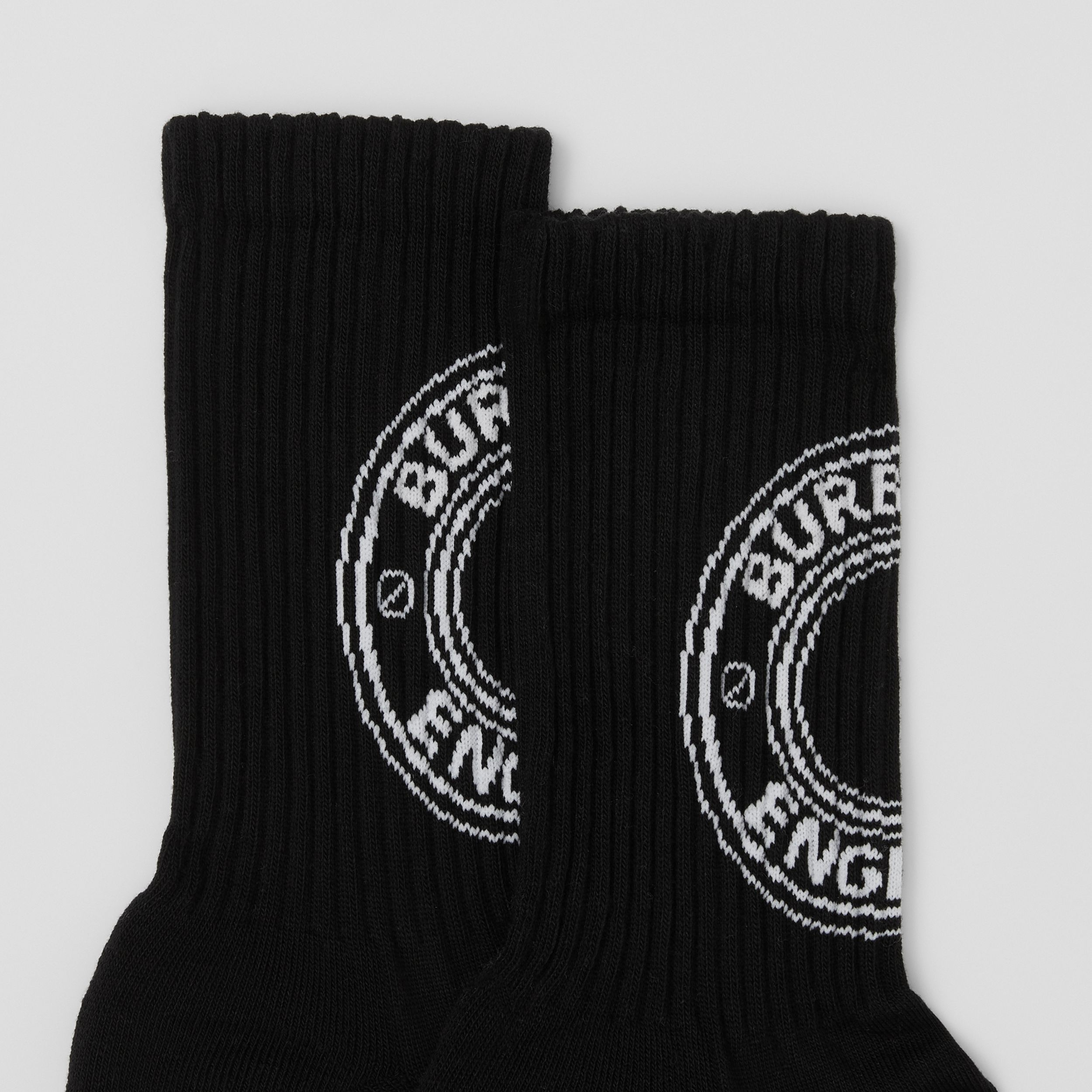 Logo Graphic Intarsia Technical Stretch Cotton Socks in Black | Burberry - 2