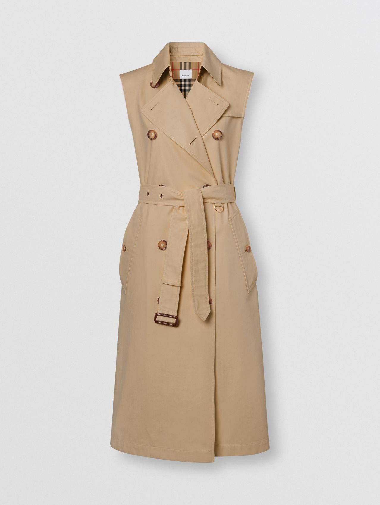 Sleeveless Cotton Gabardine Trench Coat in Honey