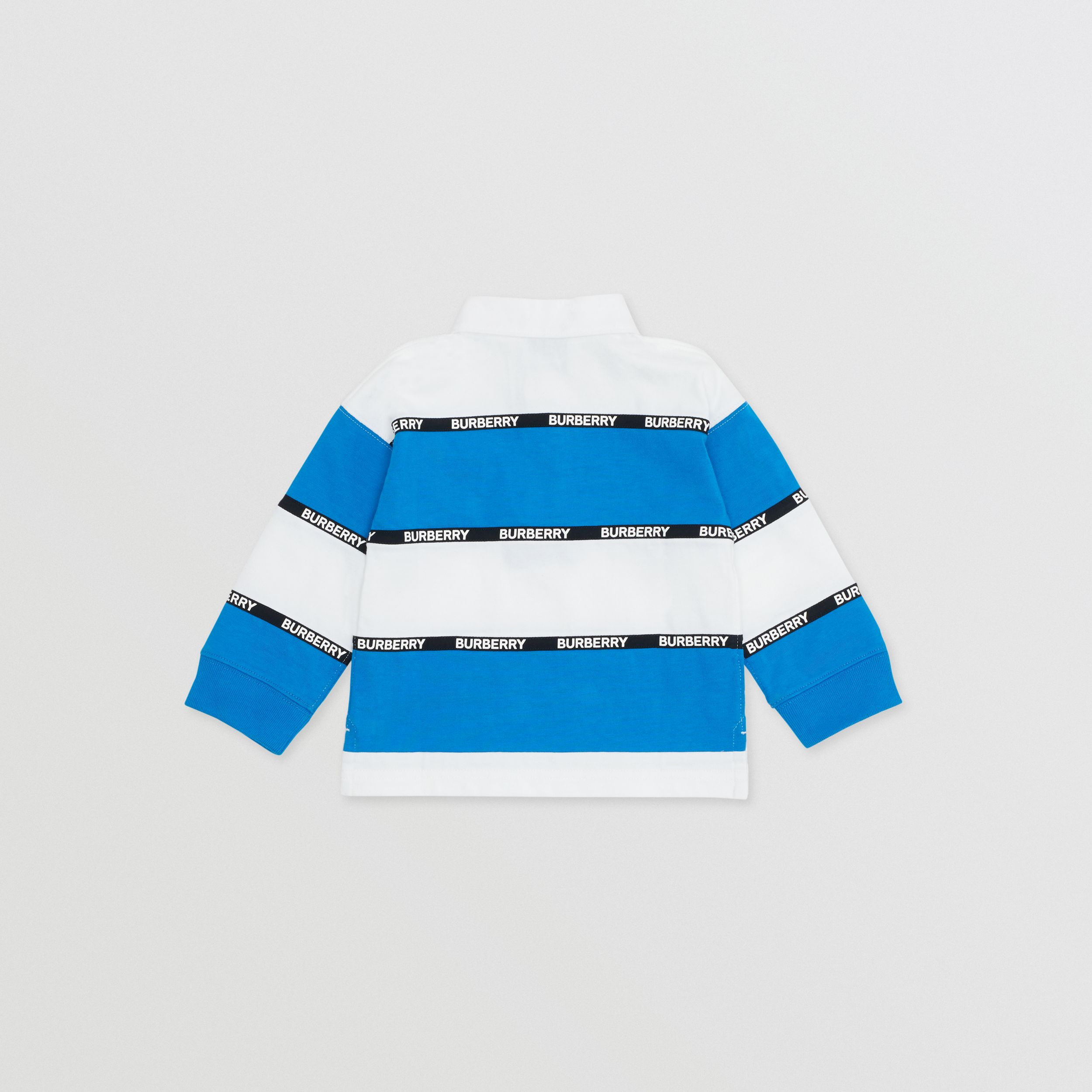 Long-sleeve Logo Tape Striped Cotton Polo Shirt - Children | Burberry - 4